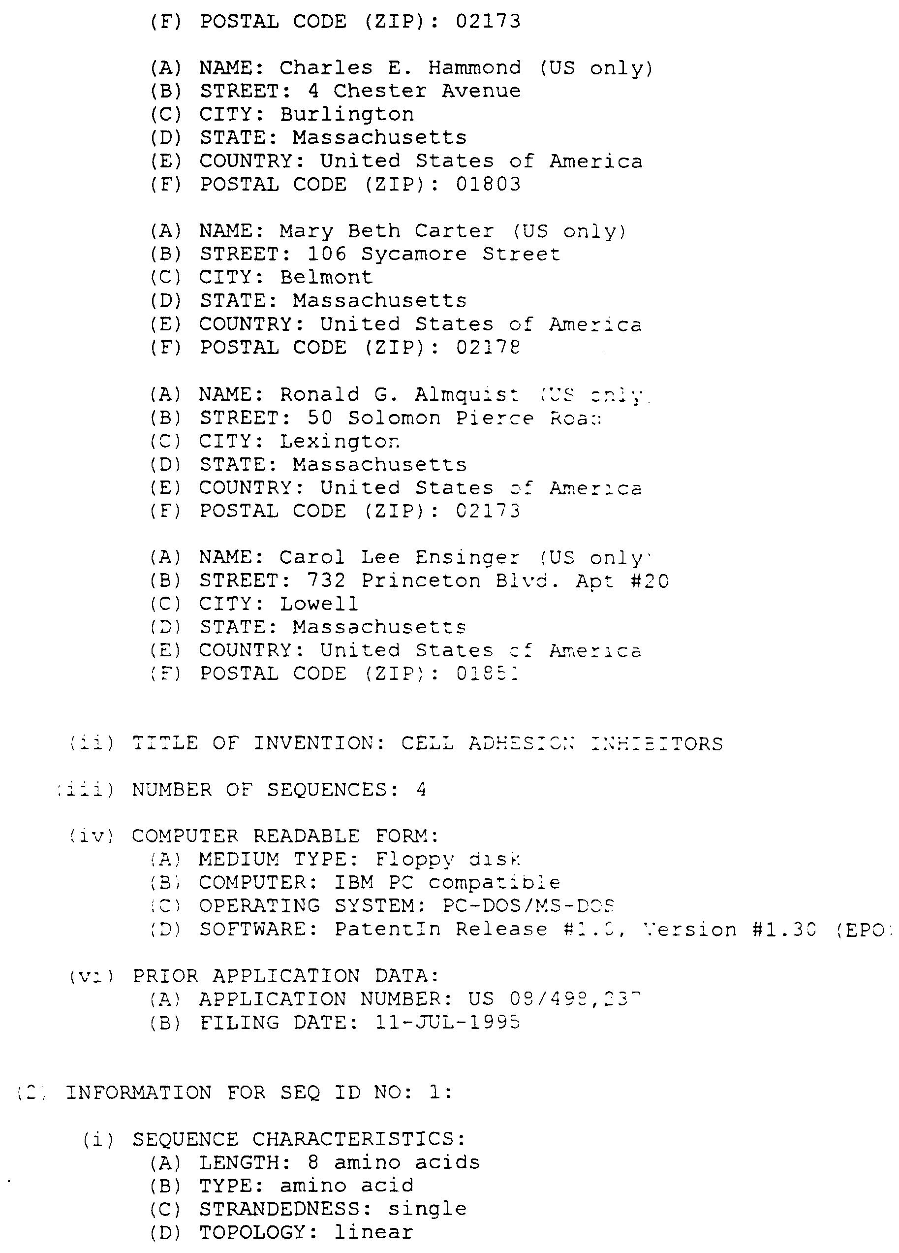Patent WOA Cell Adhesion Inhibitors Google Patents - Us zip code type