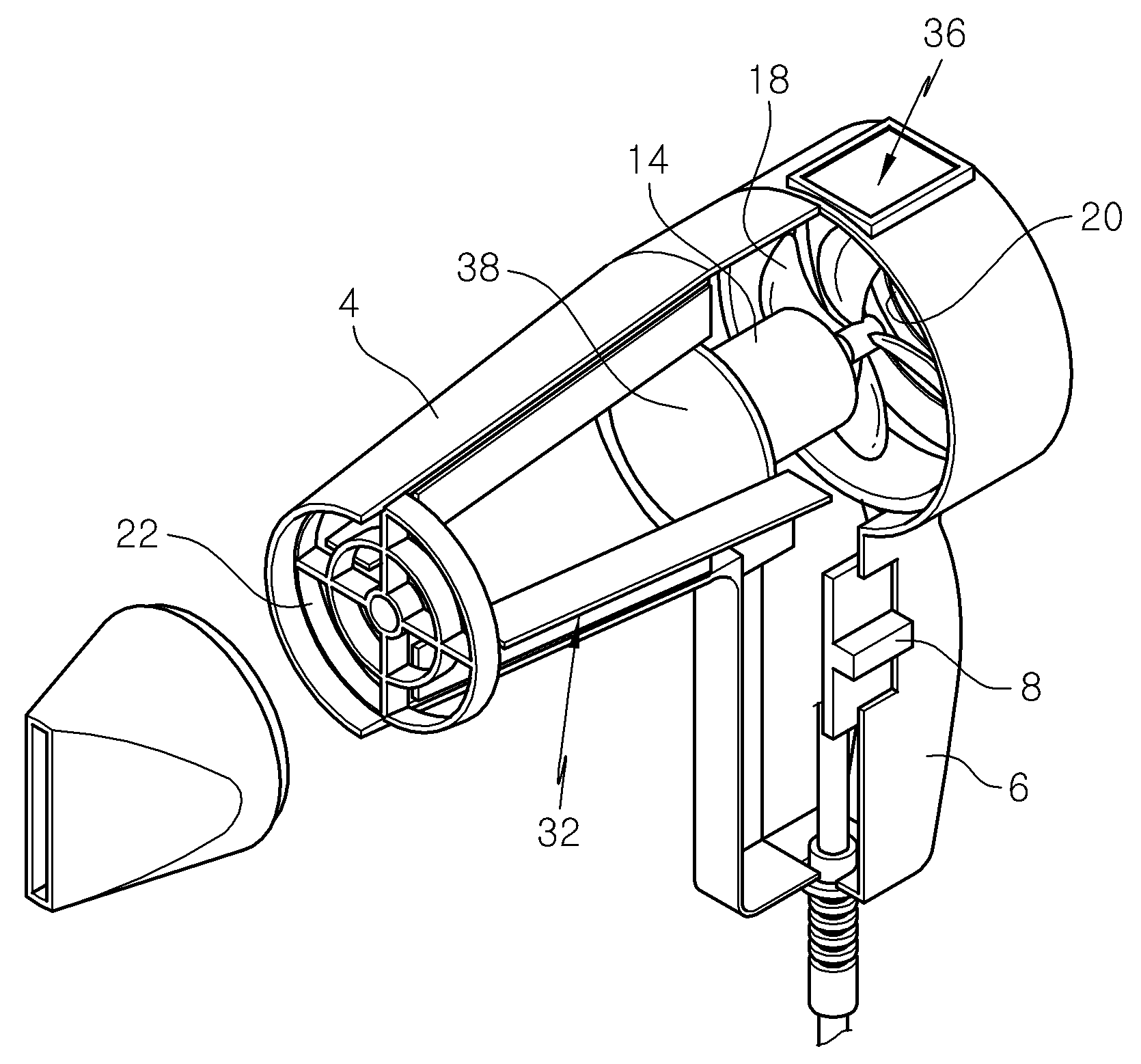 patent wo2009136739a2 - hairdryer