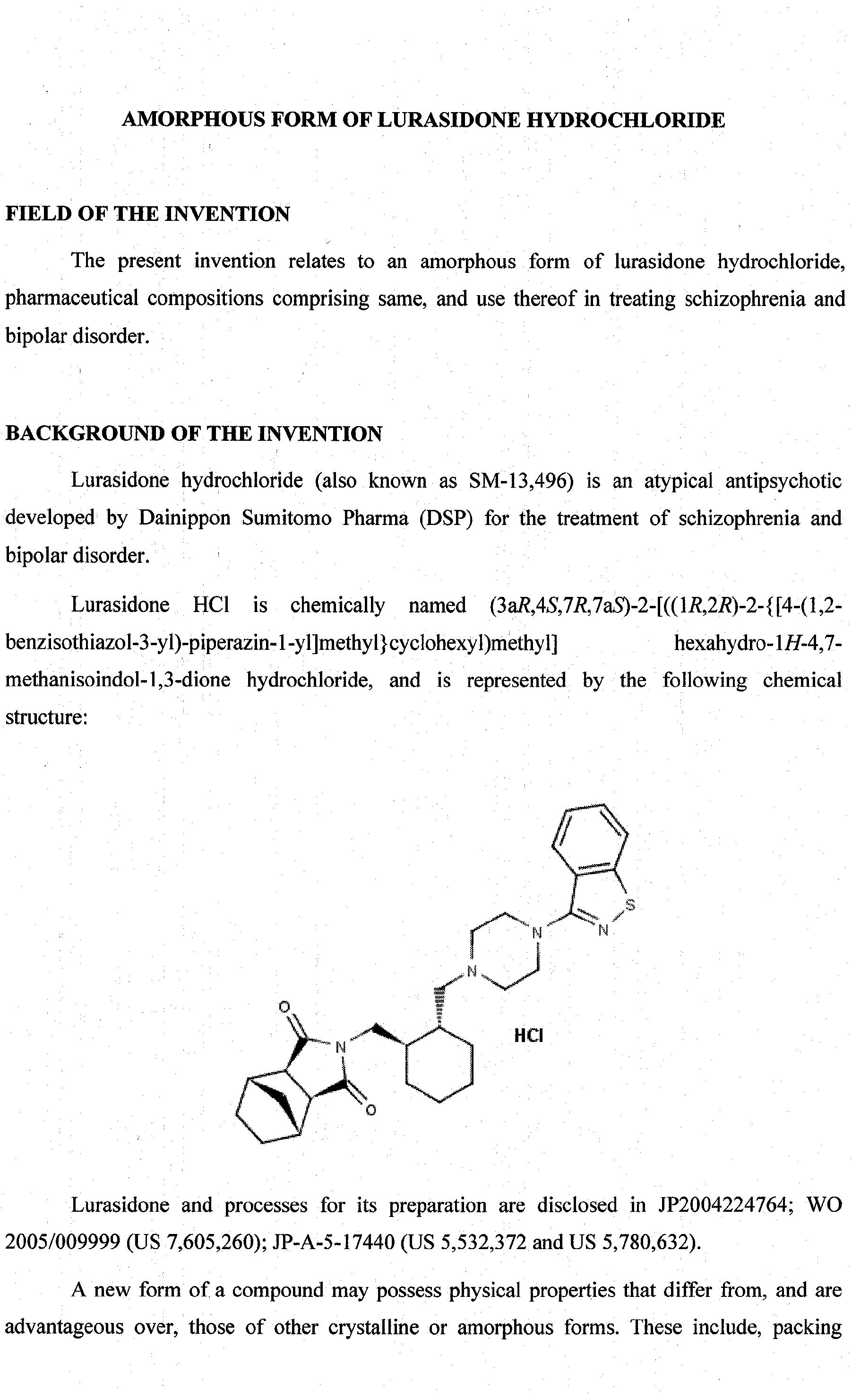 Patent WO2012063246A1 - Amorphous form of lurasidone hydrochloride ...
