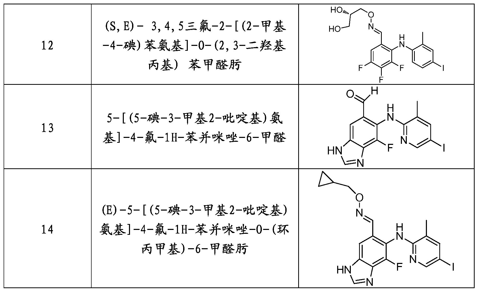 表   : 具体化合物的名称和结构式;; 专利wo2012122891a1 - 含肟类的