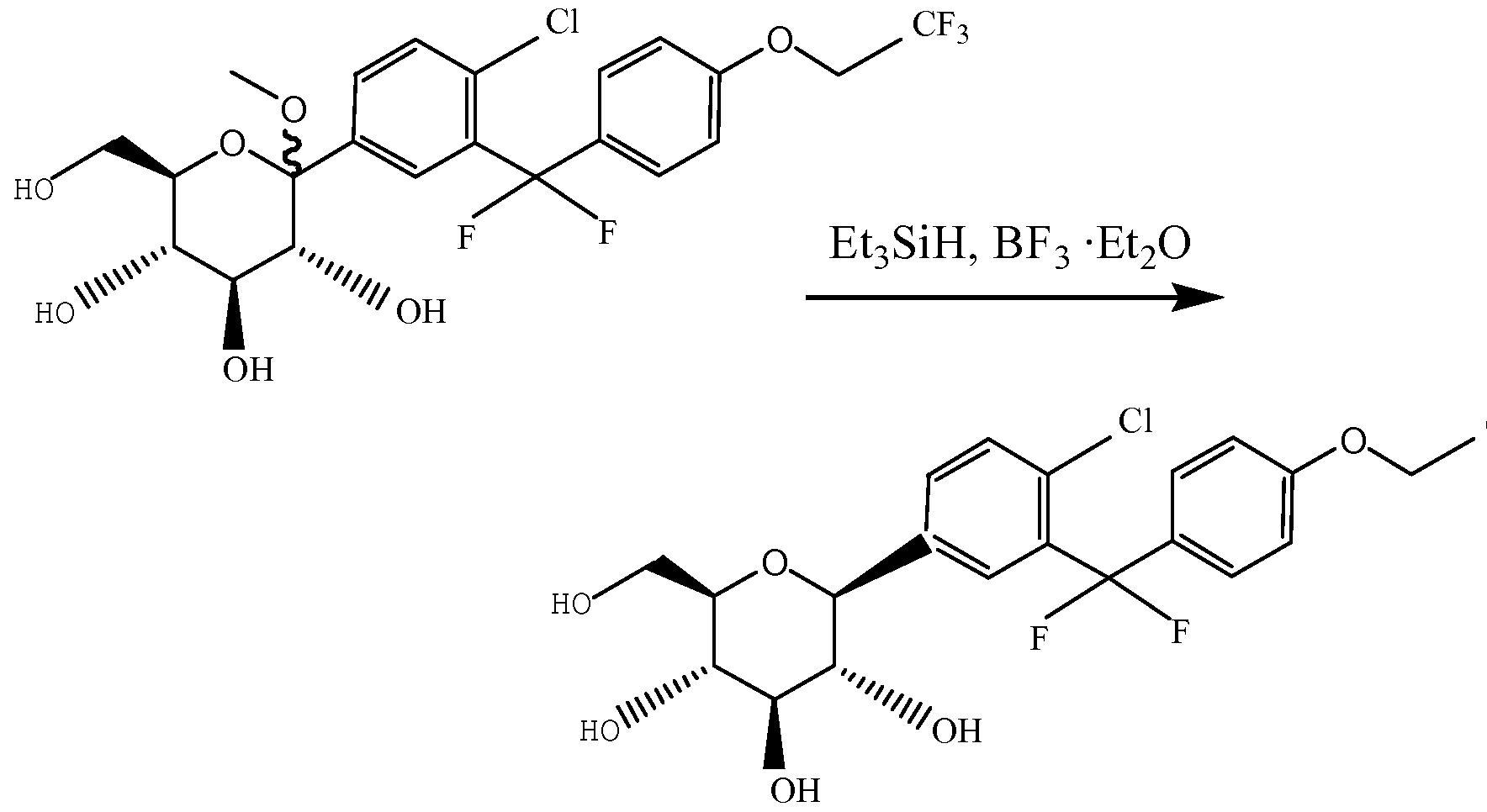 另一方面, 本发明提供上述化合物或其药物可接受的盐、 溶剂化物、 多 晶型体、 对映体或外消旋混合物在制备 C-芳基葡糖苷 SGLT2抑制剂类药 物中的用途。 实验证明, 本发明提供的化合物具有 SGLT2抑制剂的作用, 因此可制备成相应的 SGLT2抑制剂类药物用于临床治疗或研究。 再一方面, 本发明提供上述化合物或其药物可接受的盐、 溶剂化物、 多晶型体、 对映体或外消旋混合物在制备治疗、 预防或延緩下述疾病的药 物中的用途: 糖尿病、 高血糖、 高胰岛素血症、 高脂血症、 肥胖症、 X综 合征、