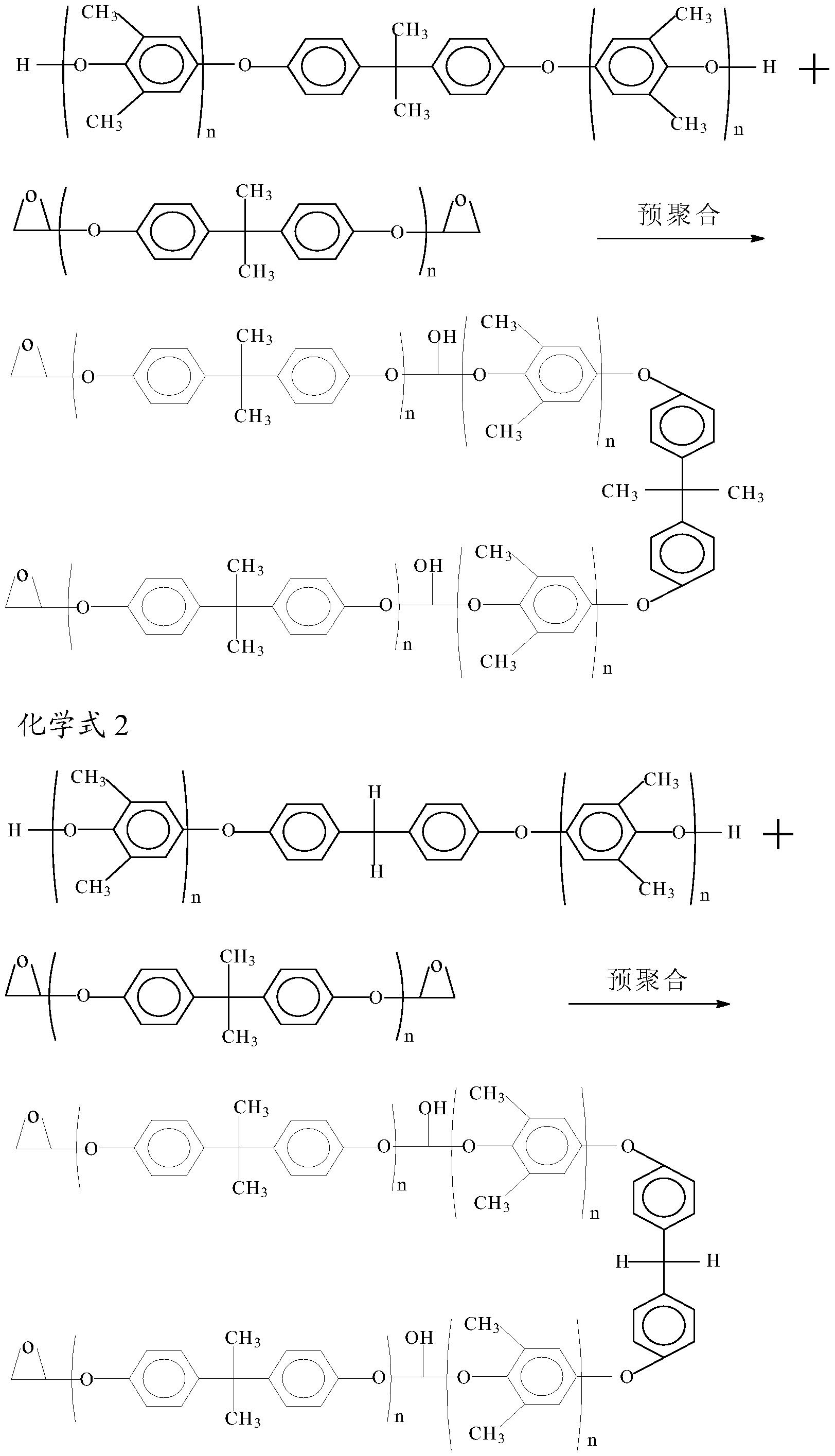 质聚苯醚树脂, 其反应机制及键结结构如化学式 1及化学式 2所示:   由
