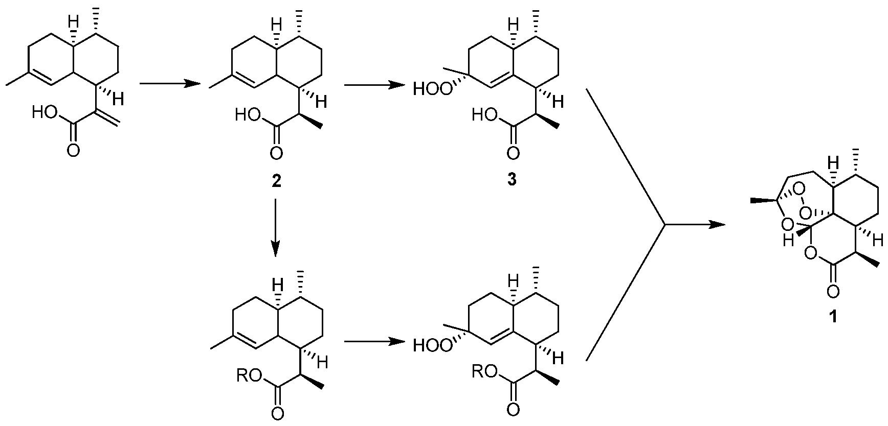 /Rh (427 mmol)加入到 1000 mL乙醇中, 在 25 V、 氢气氛围中(50 bar)反应 12小时。 反应混合物经硅藻土过滤, 旋蒸除去 有机溶剂, 得白色固体 (99 g, 98%)。 ( 2 ) 二氢青蒿酸衍生物 4的合成 二氢青蒿酸(99 g, 420 mmol) 二异丙基乙胺(6. 3 mol)加入到 1000 mL二 氯甲垸中。 -50 C下向体系中加入烯丙基溴 (4.