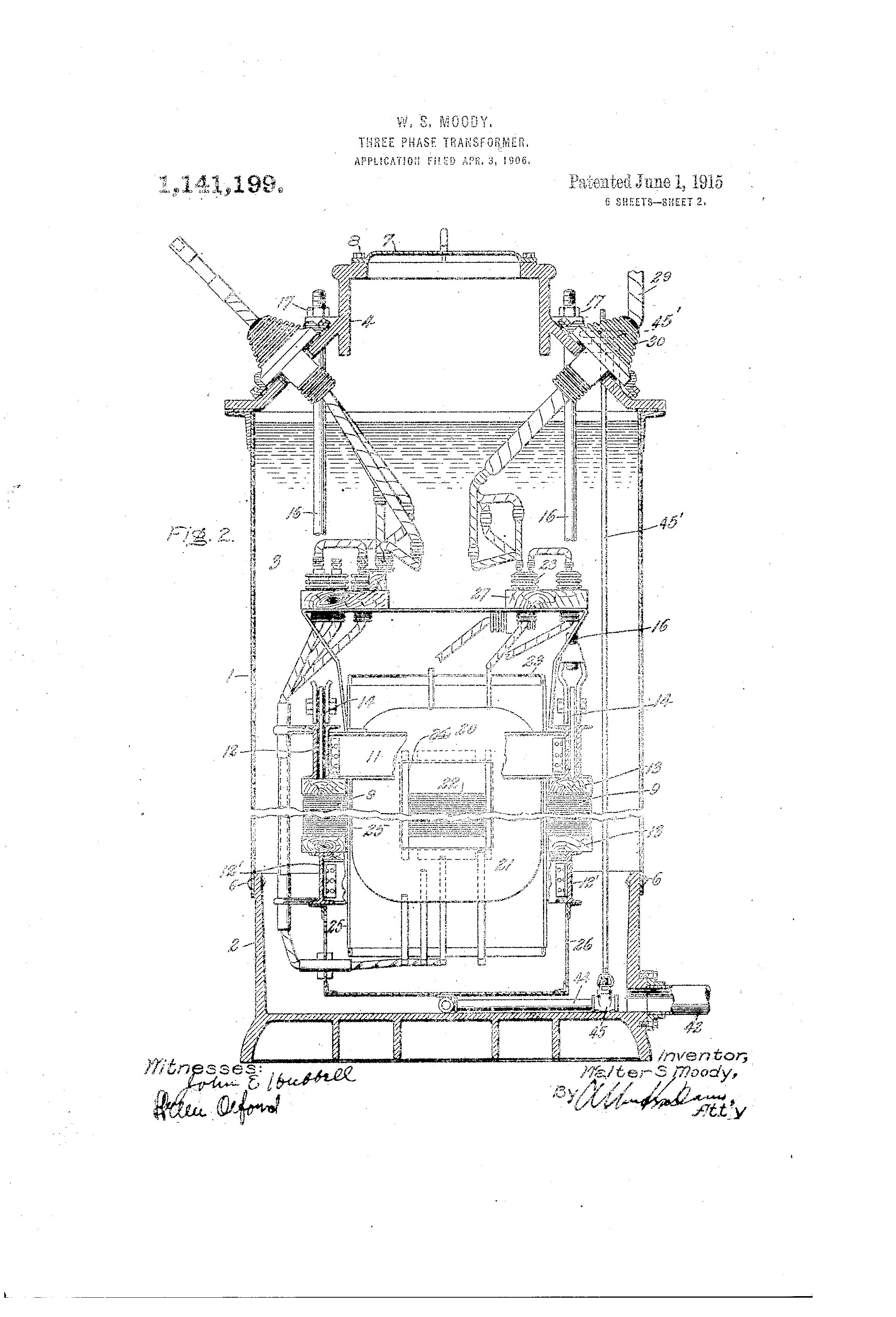 Patent US1141199 - Three-phase transformer. - Google Patents