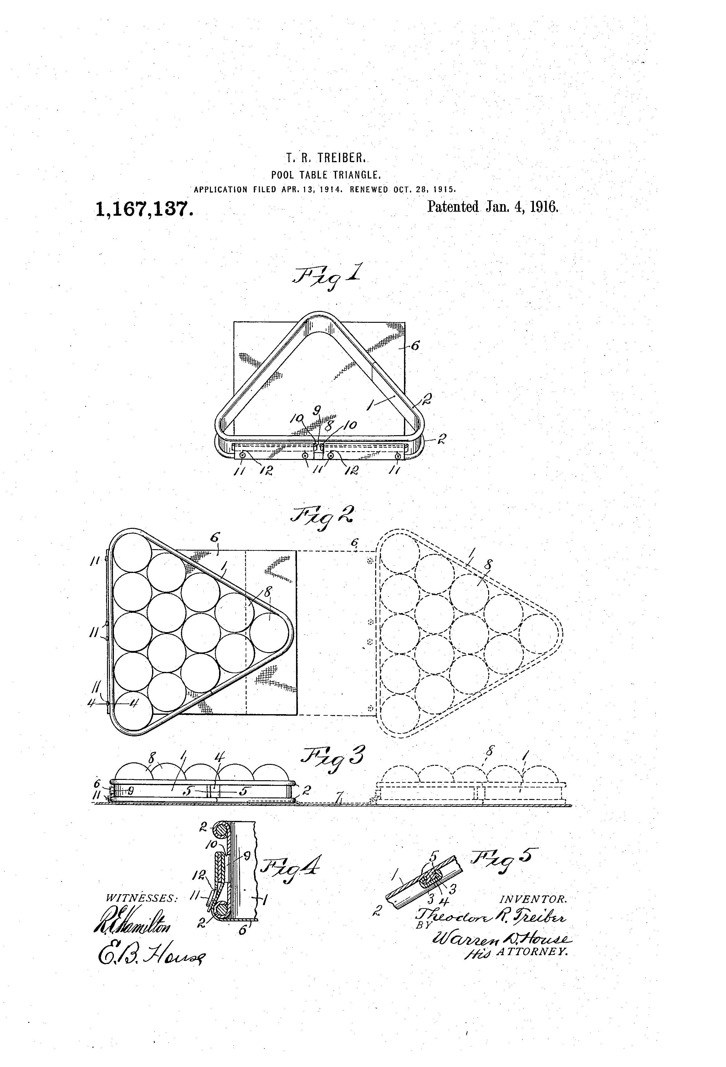 Patent us1167137 pool table triangle google patents - Beer pong table triangle dimensions ...