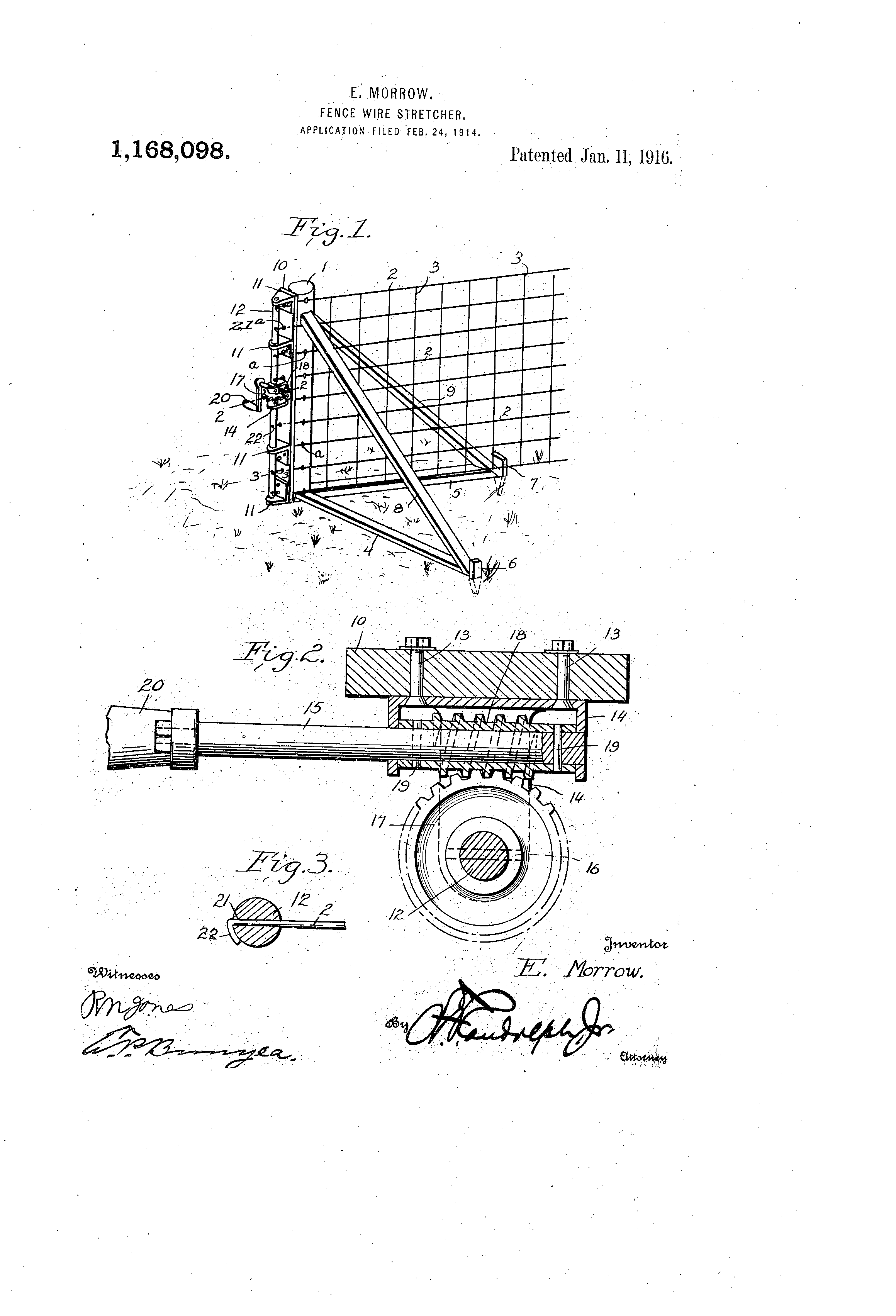 patent us1168098 - fence-wire stretcher