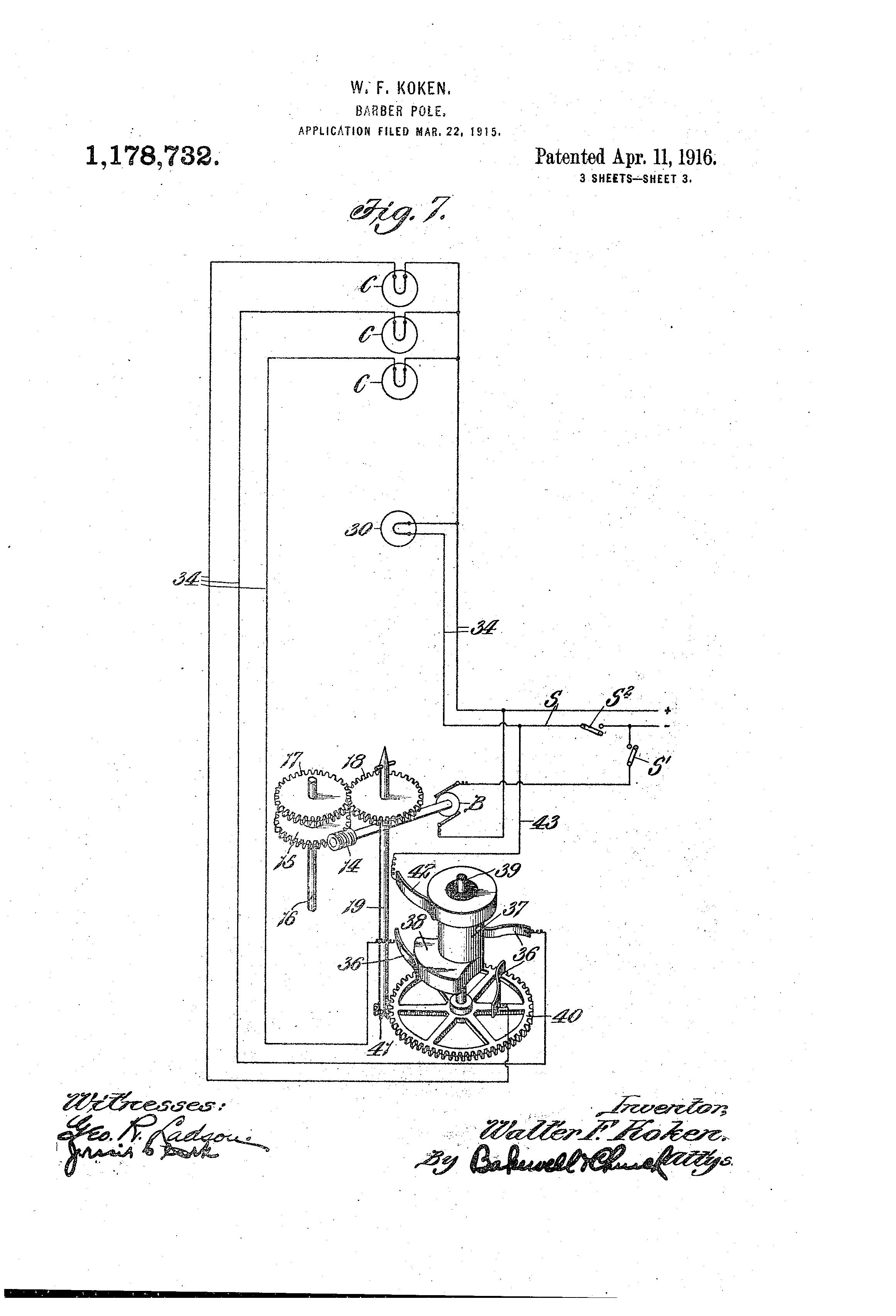 Patent US1178732 - Barber-pole. - Google Patents on barber shop pole, barber s pole, barber pole parts diagram,