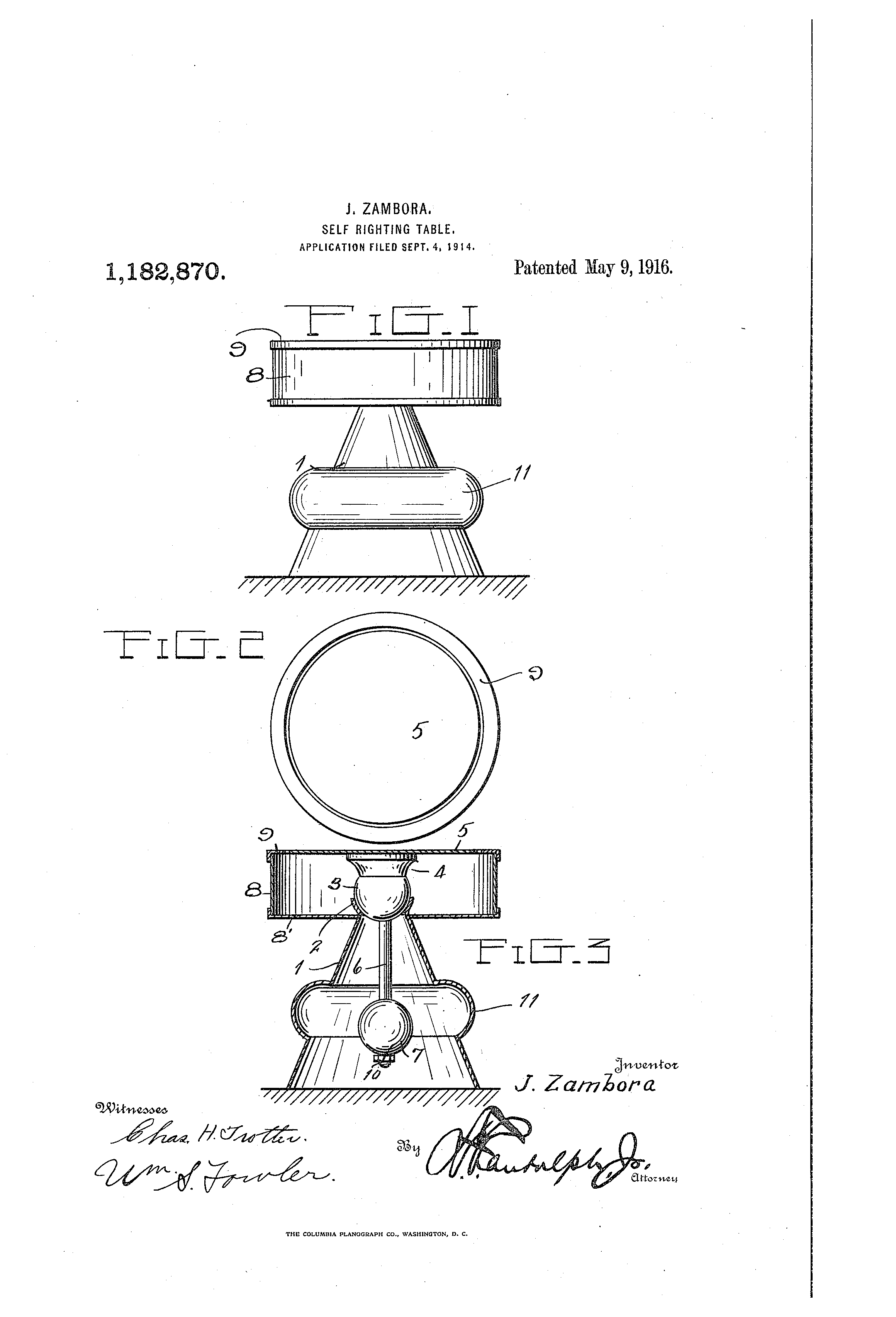 Worksheets J Righting patent us1182870 self righting table google patents drawing