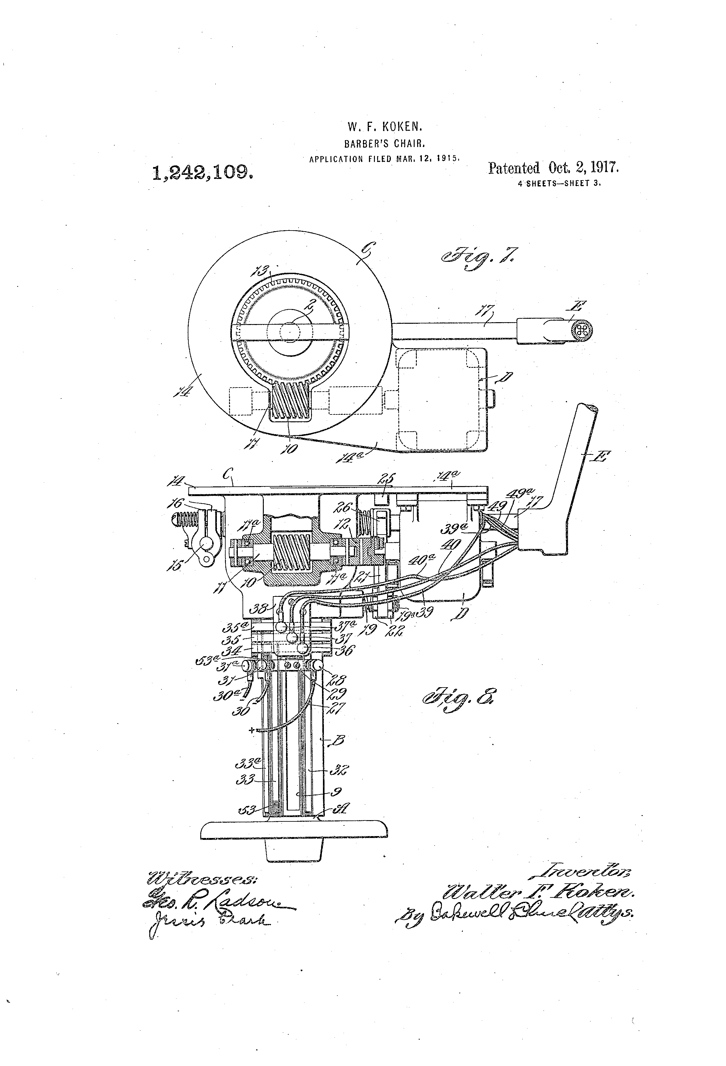 Patent us1242109 barber s chair google patents