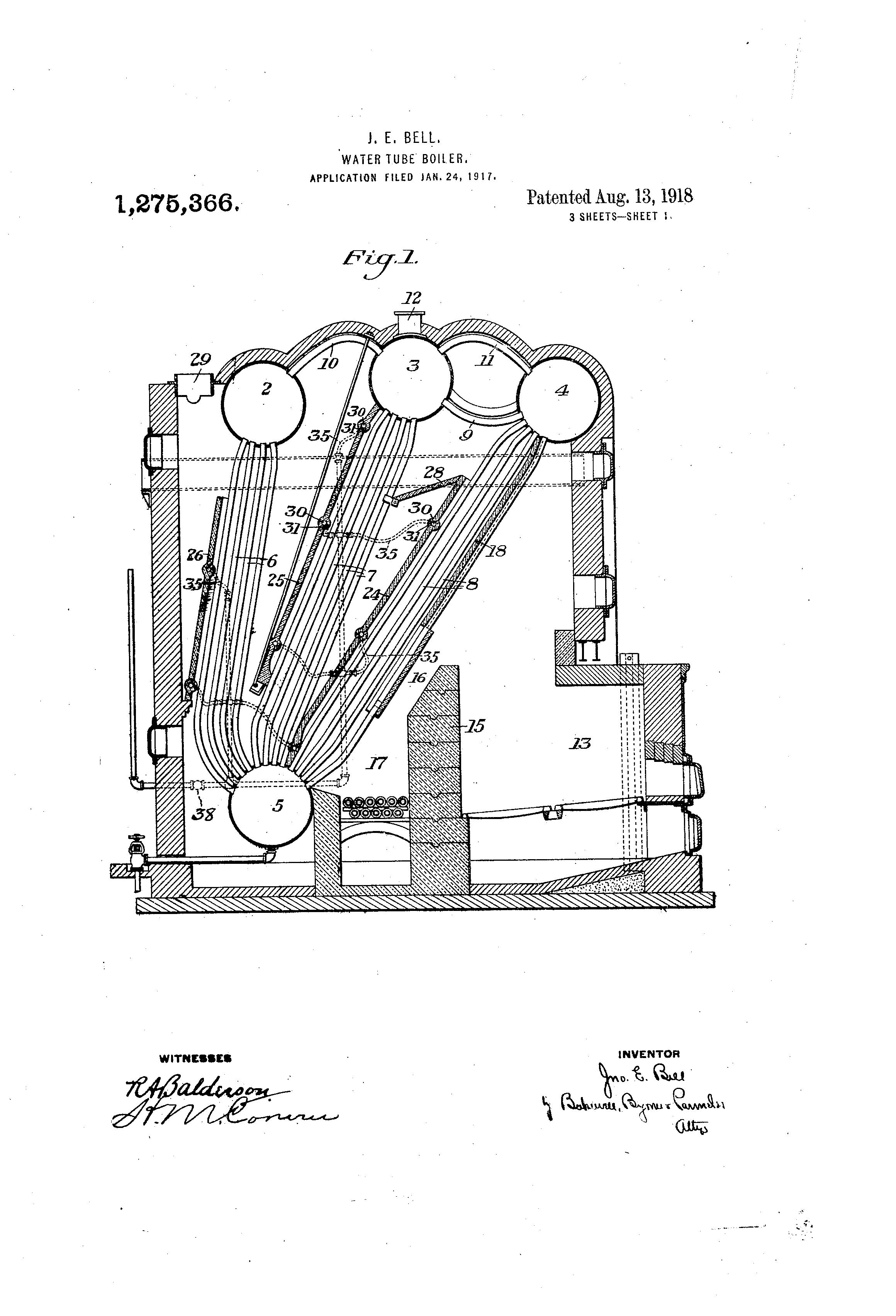 Brevet US1275366 - Water-tube boiler. - Google Brevets