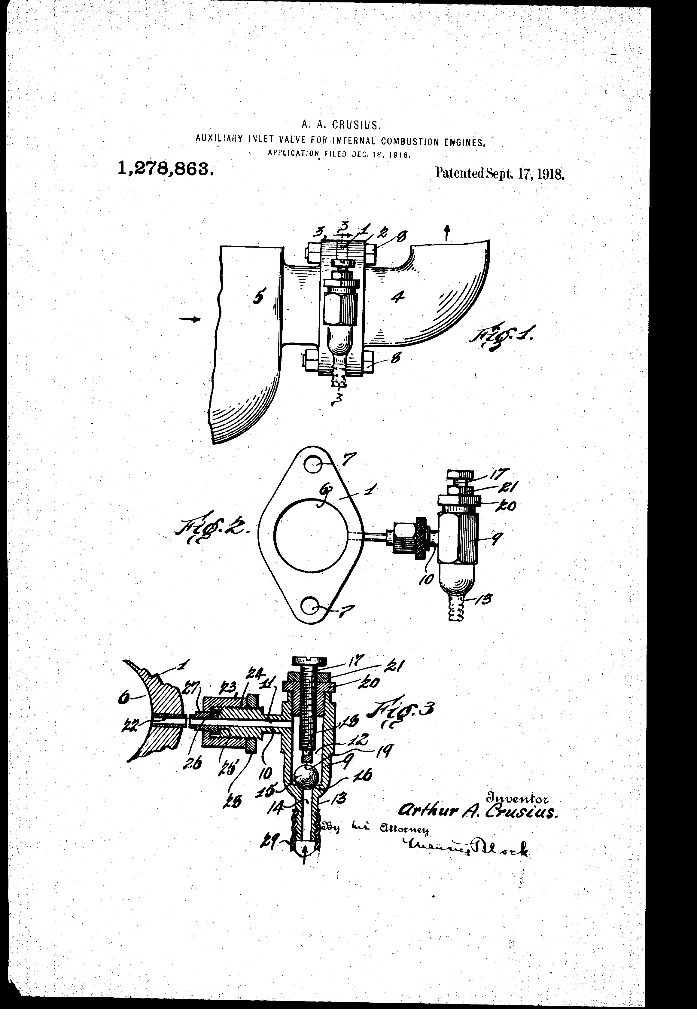 Patent Us1278863 Auxiliary Inlet Valve For Internal Combustion Illustrated Diagram Of A Basic Engine Drawing