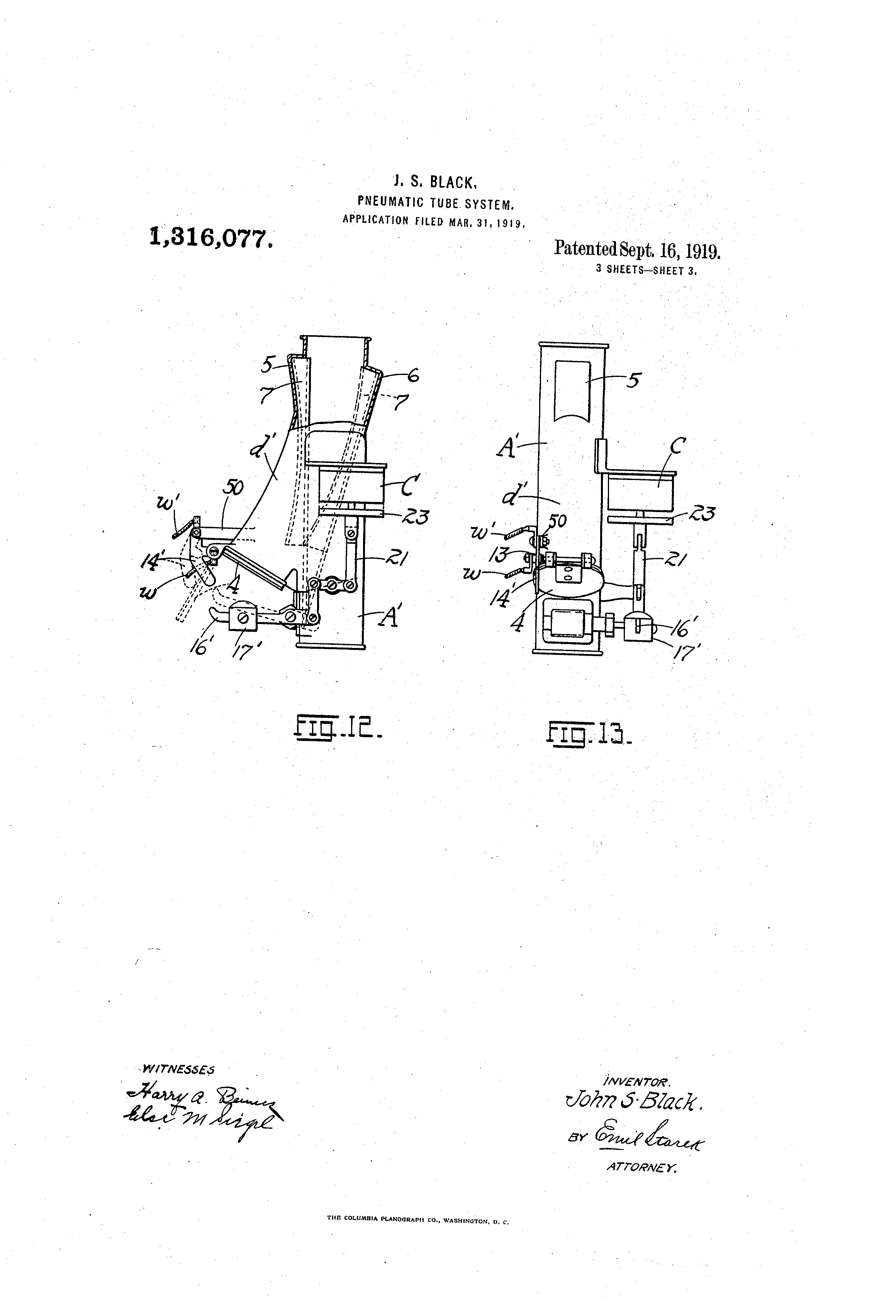 Patent Us1316077 Pheumatic Ttjbe System Google Patents Figure 2 Pushbutton Closed Circuit Current Flows Drawing