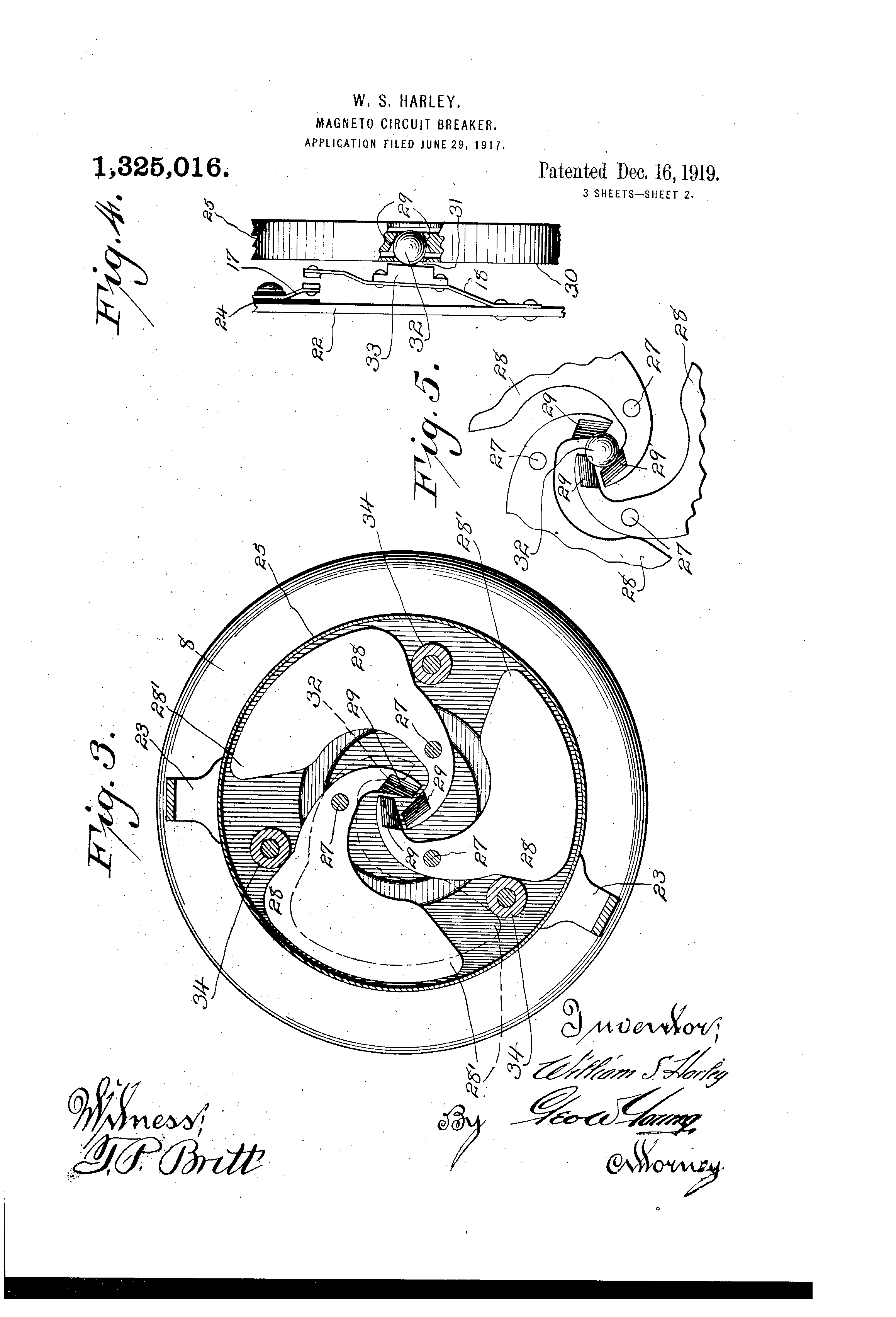 Patent Us1325016 Magneto Circuit Breaker Google Patents Harley Wiring Schematic Drawing