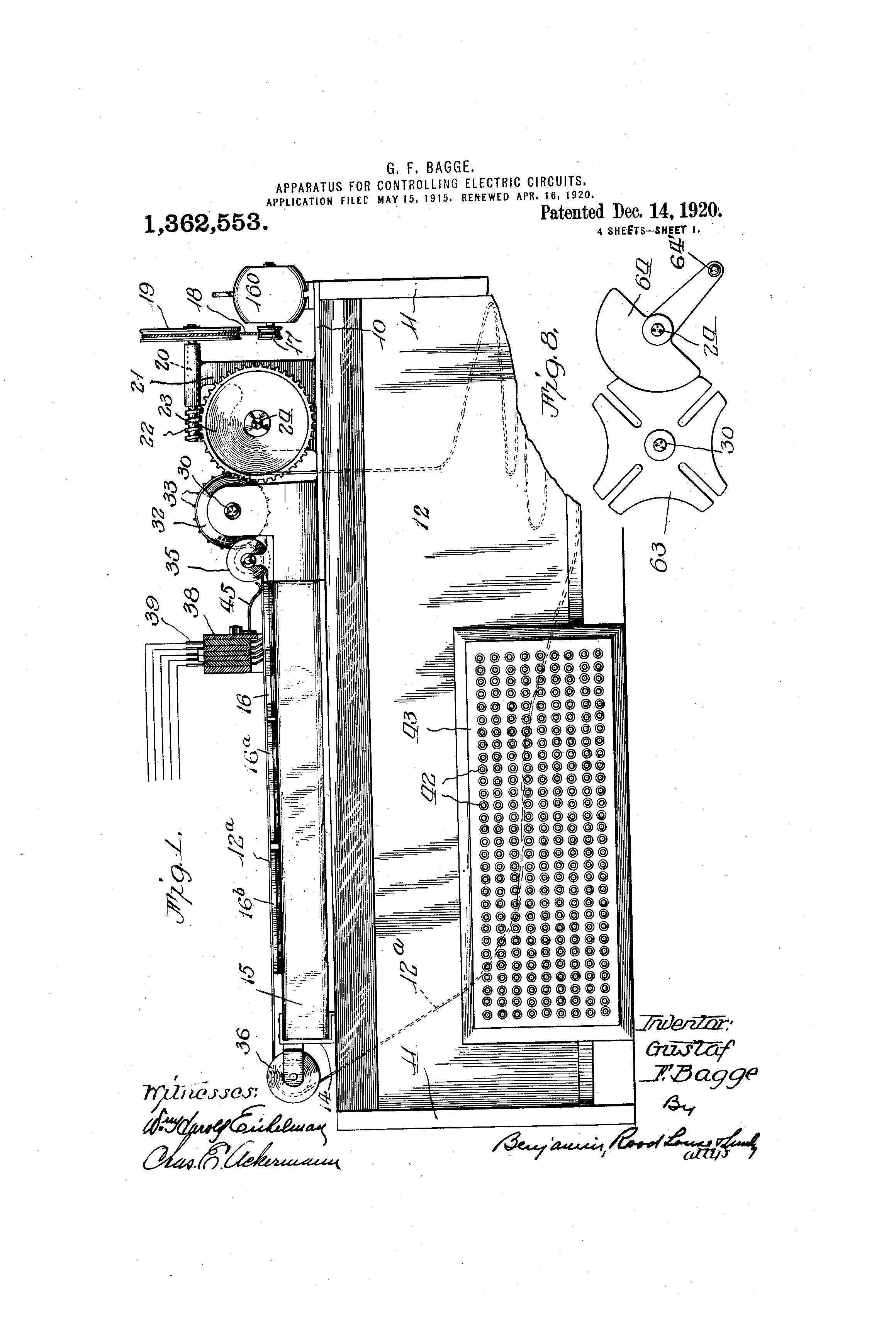 Patent US1362553 - Apparatus for controlling electric circuits ...