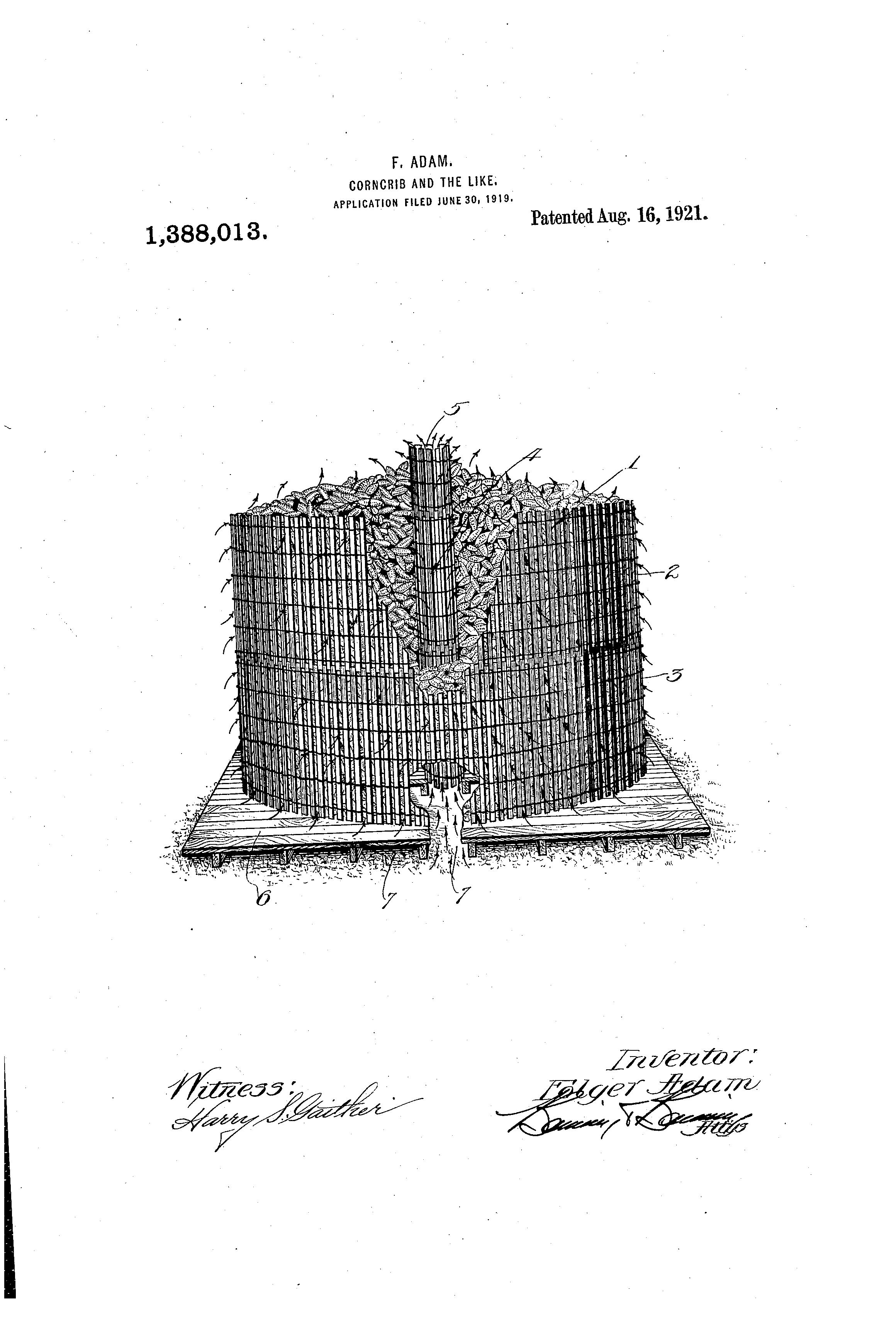 Patent US1388013 - Corncrib and the like - Google Patents