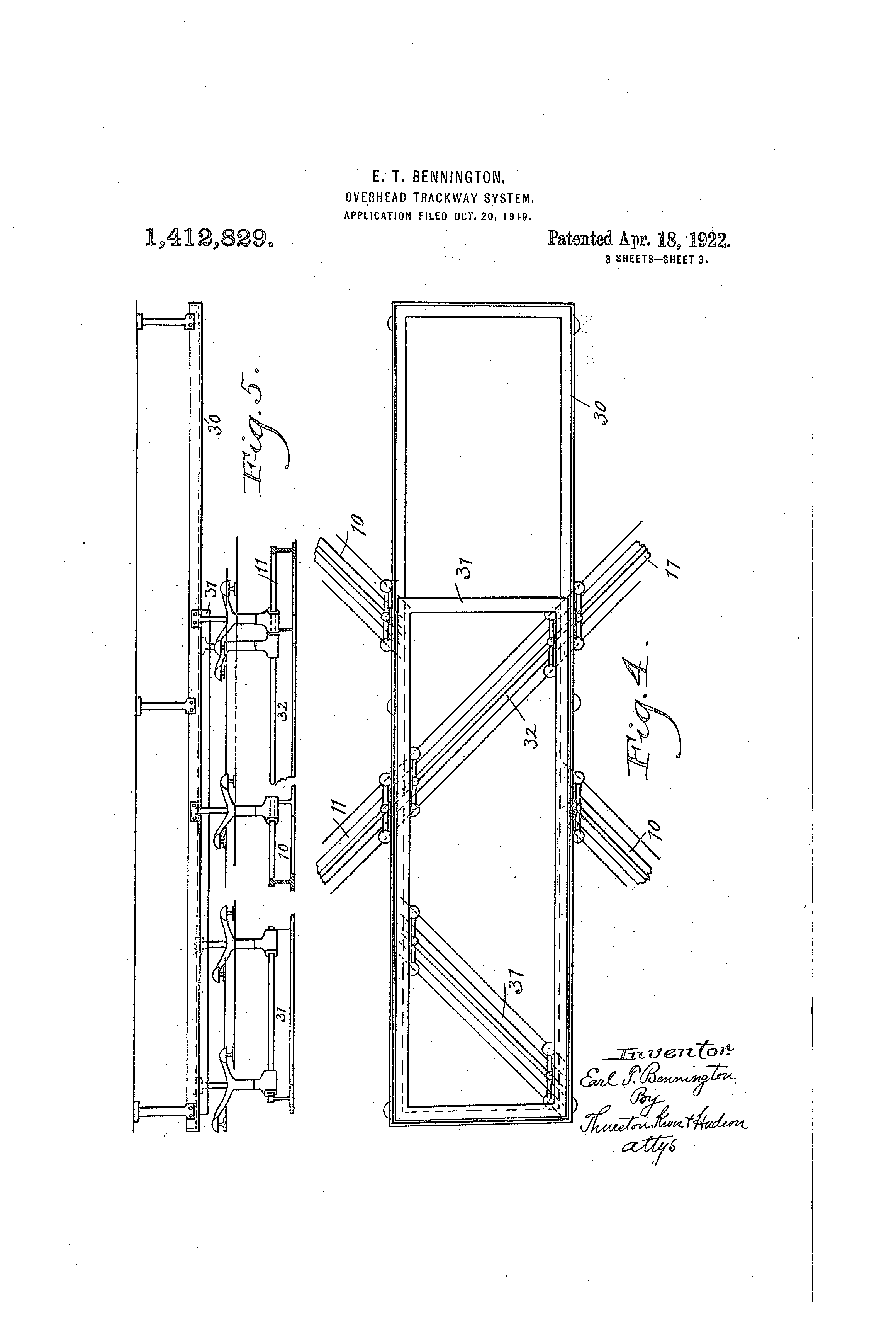Patent Us1412829 Overhead Trackway System Google Patents Bennington Wiring Diagram Drawing