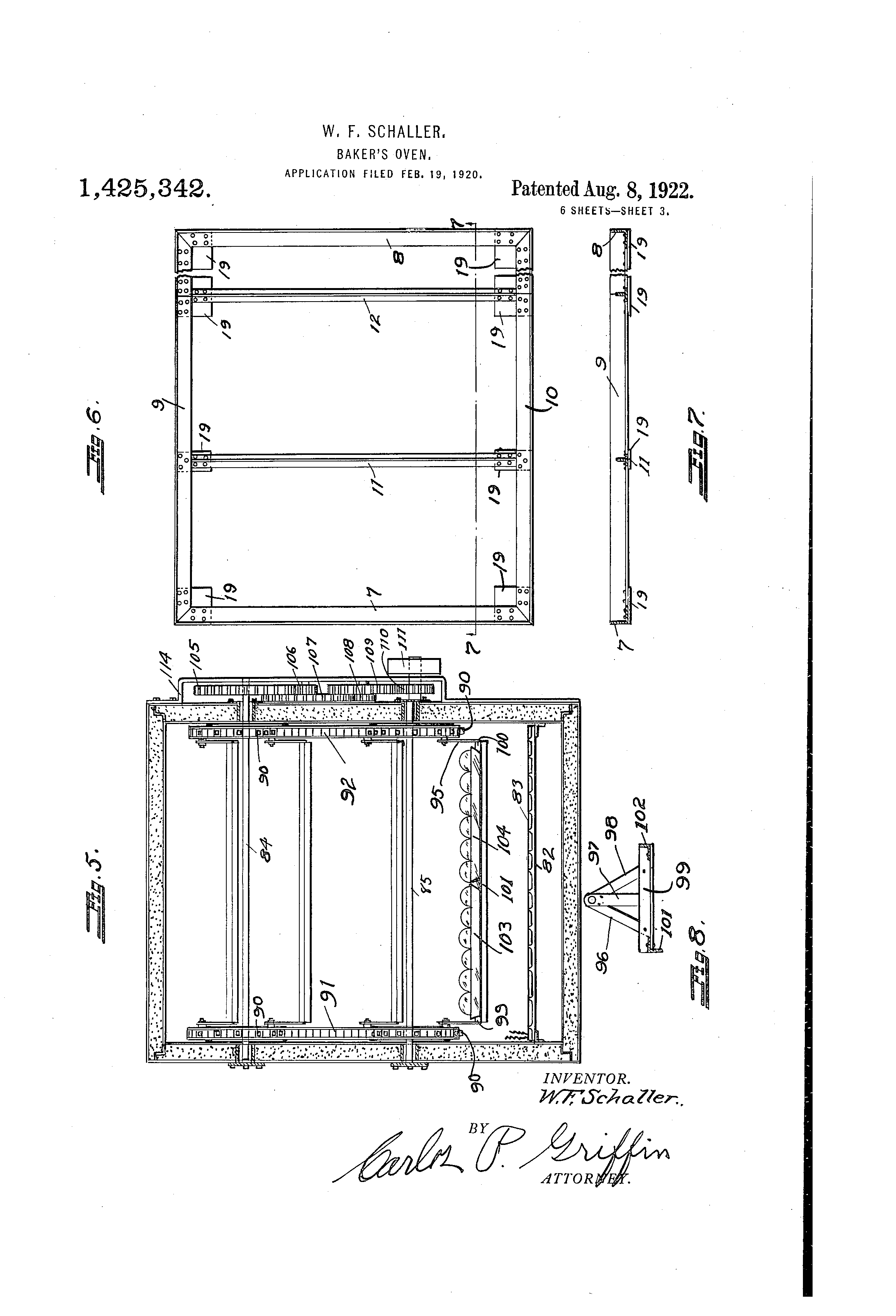 Patent Us1425342 Bakers Oven Google Patents Schaller Wiring Diagram Drawing