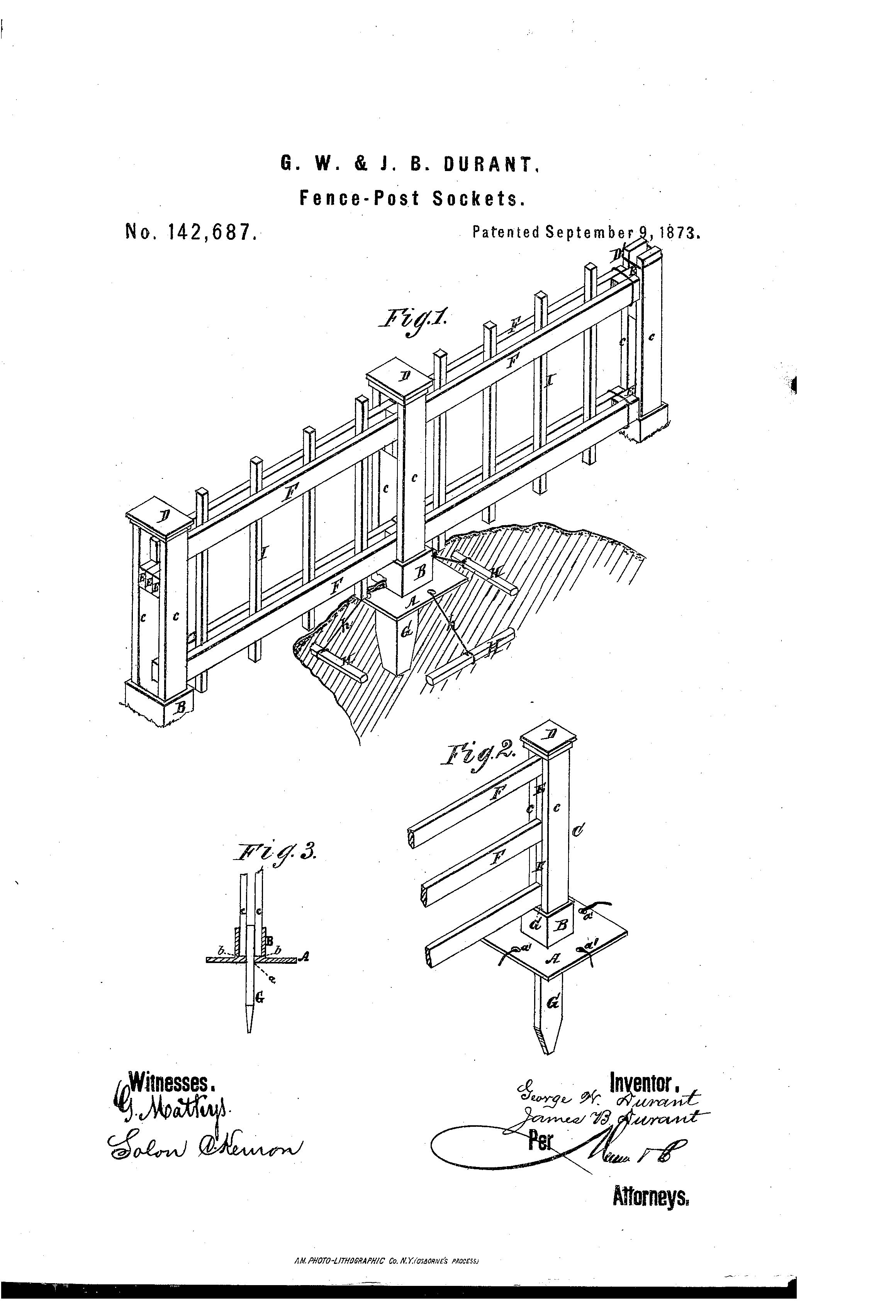 Patent Us142687 Improvement In Fence Post Sockets Google Patents Durant Wiring Diagram Drawing