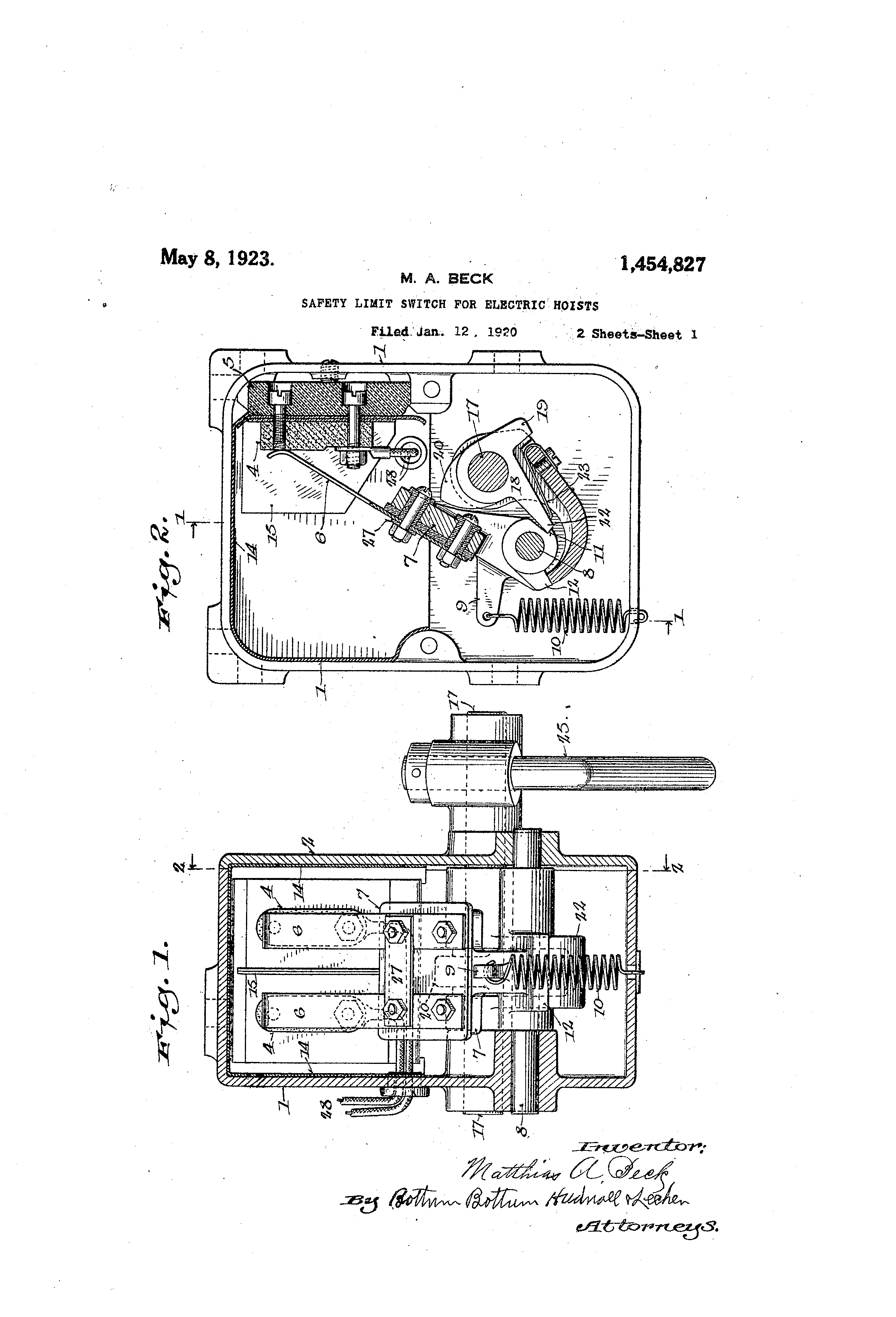 Patent Us1454827 Safety Limit Switch For Electric Hoists Google Schematic Drawing