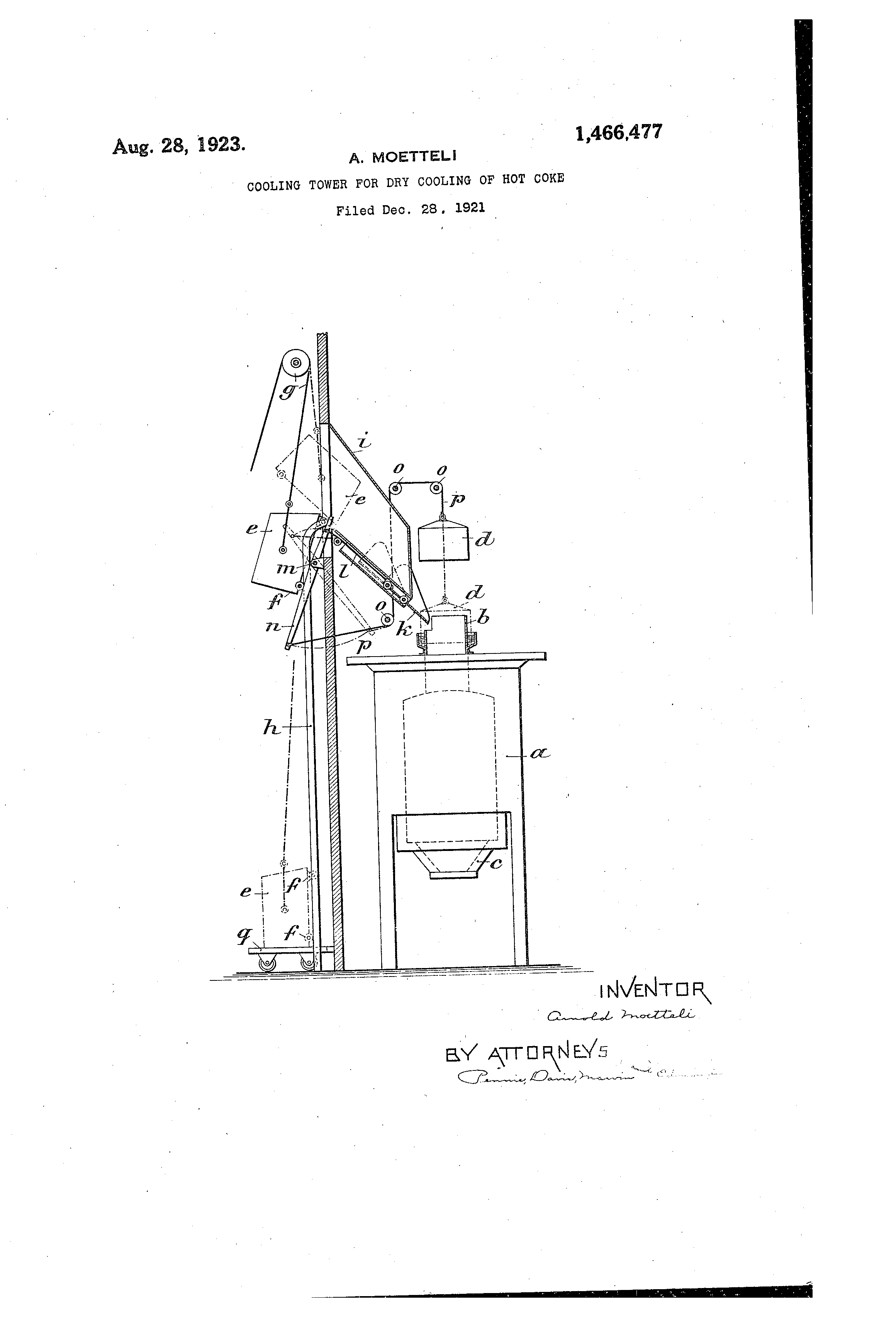 Patent US Cooling tower for dry cooling of hot coke