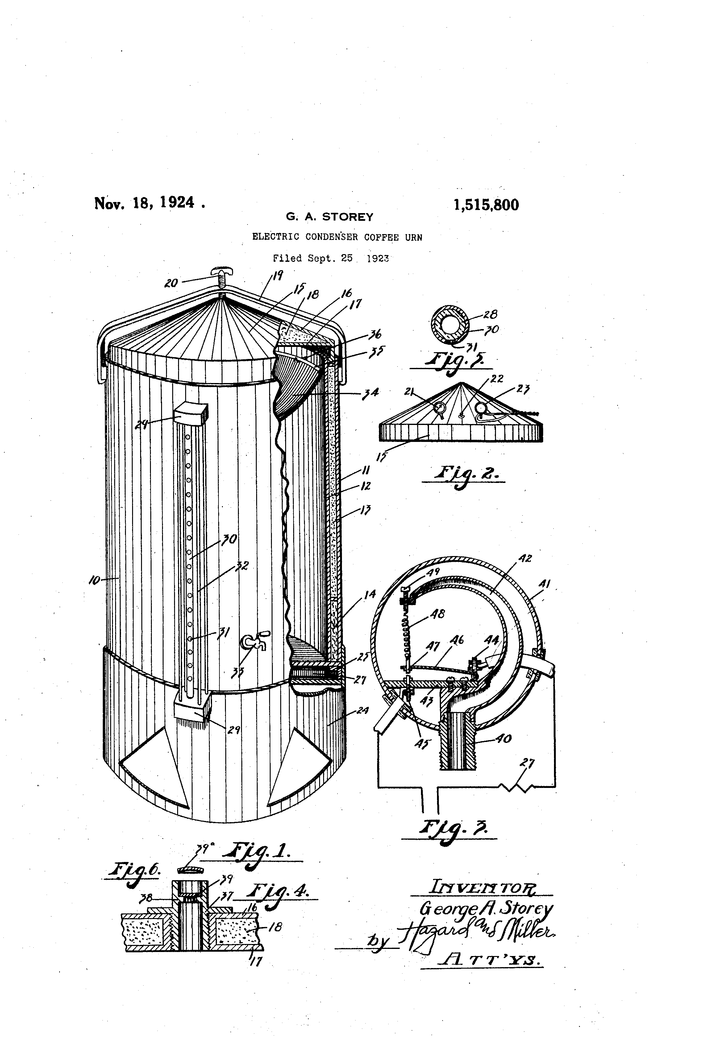 Patent Us1515800 - Electric Condenser Coffee Urn