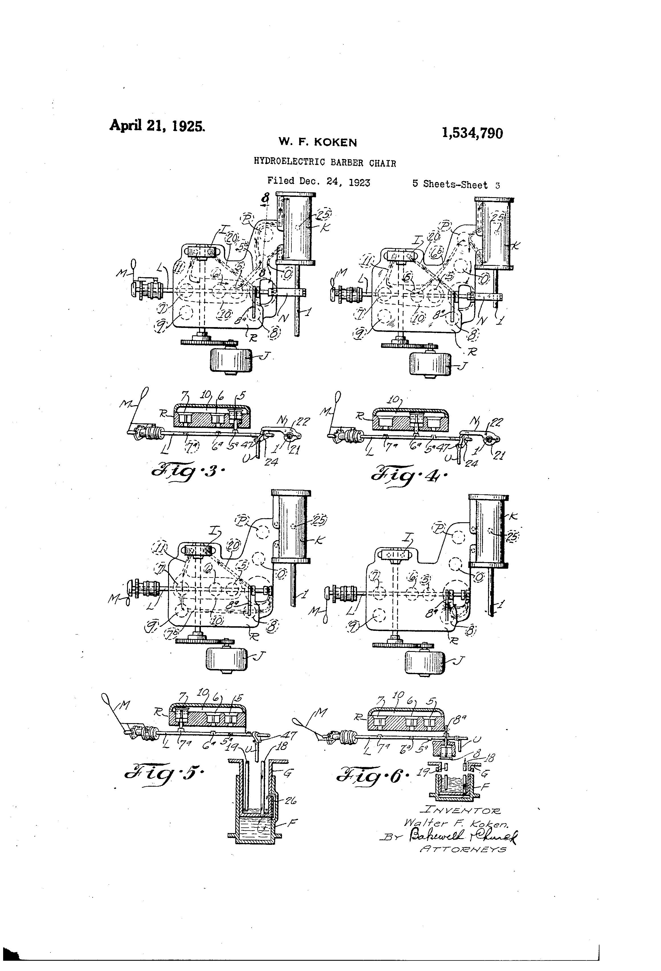 patent us1534790 - hydroelectric barber chair