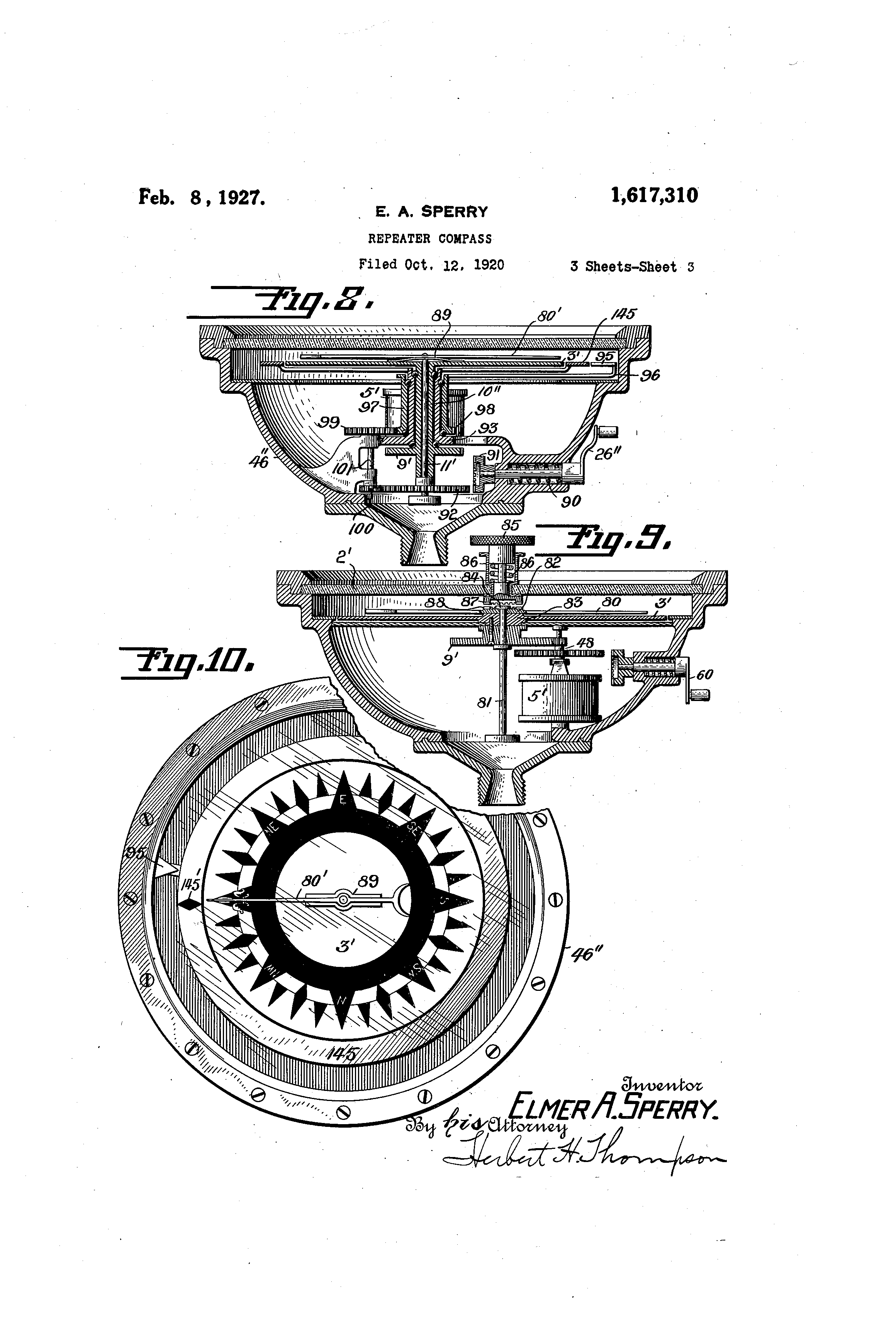 patent us1617310 - repeater compass