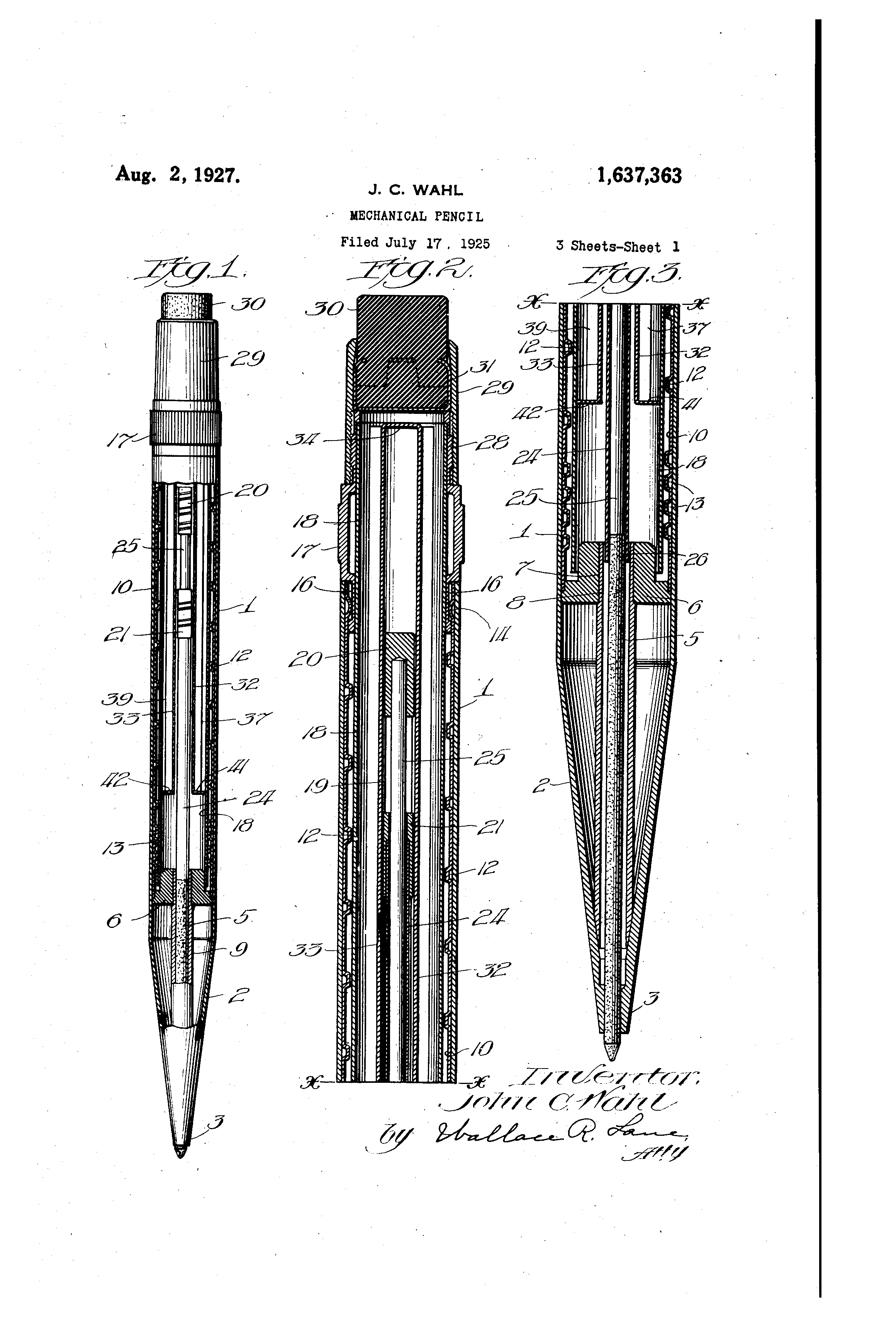 patent us1637363 - mechanical pencil