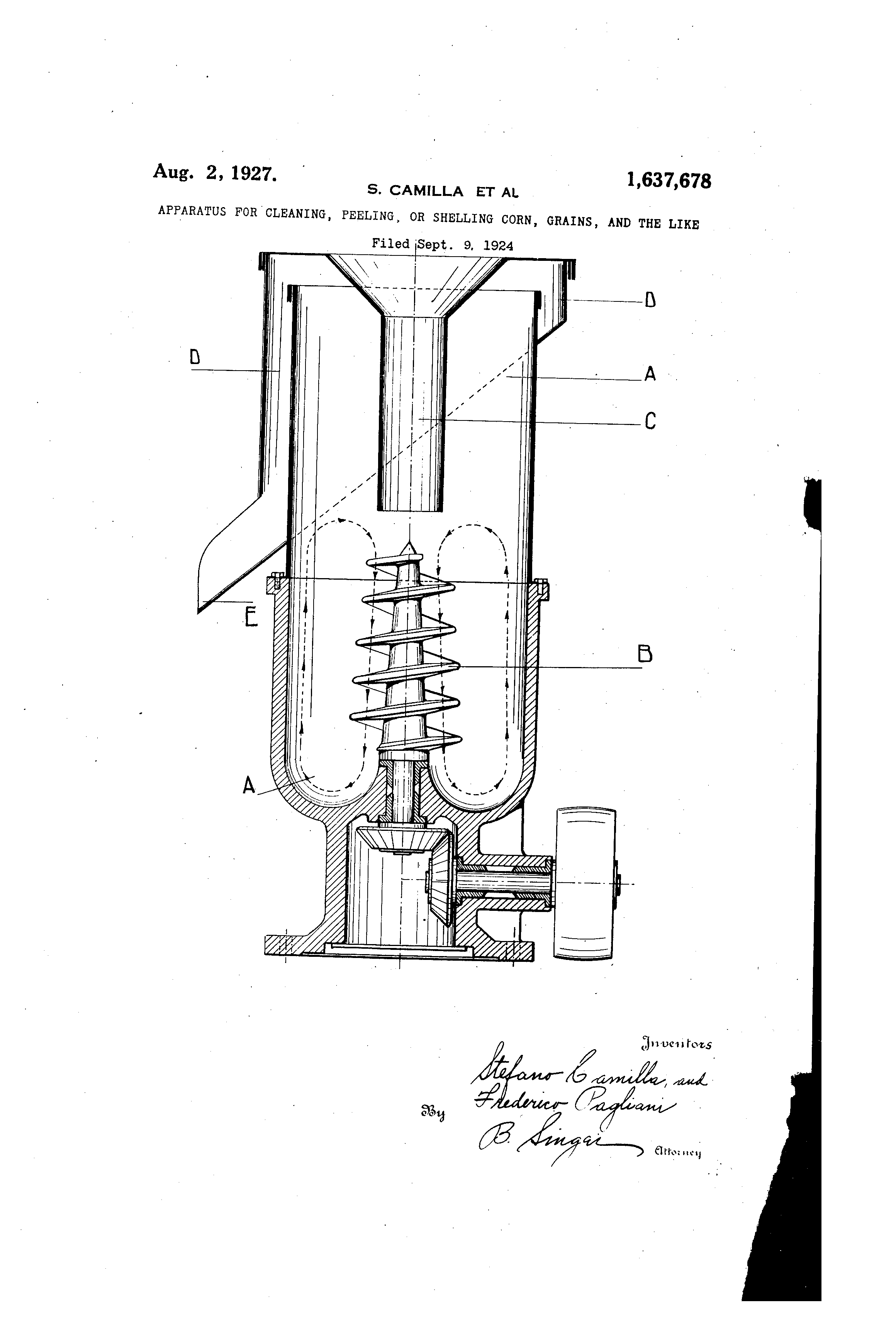 Patent US1637678 - Apparatus for cleaning, peeling, or shelling corn