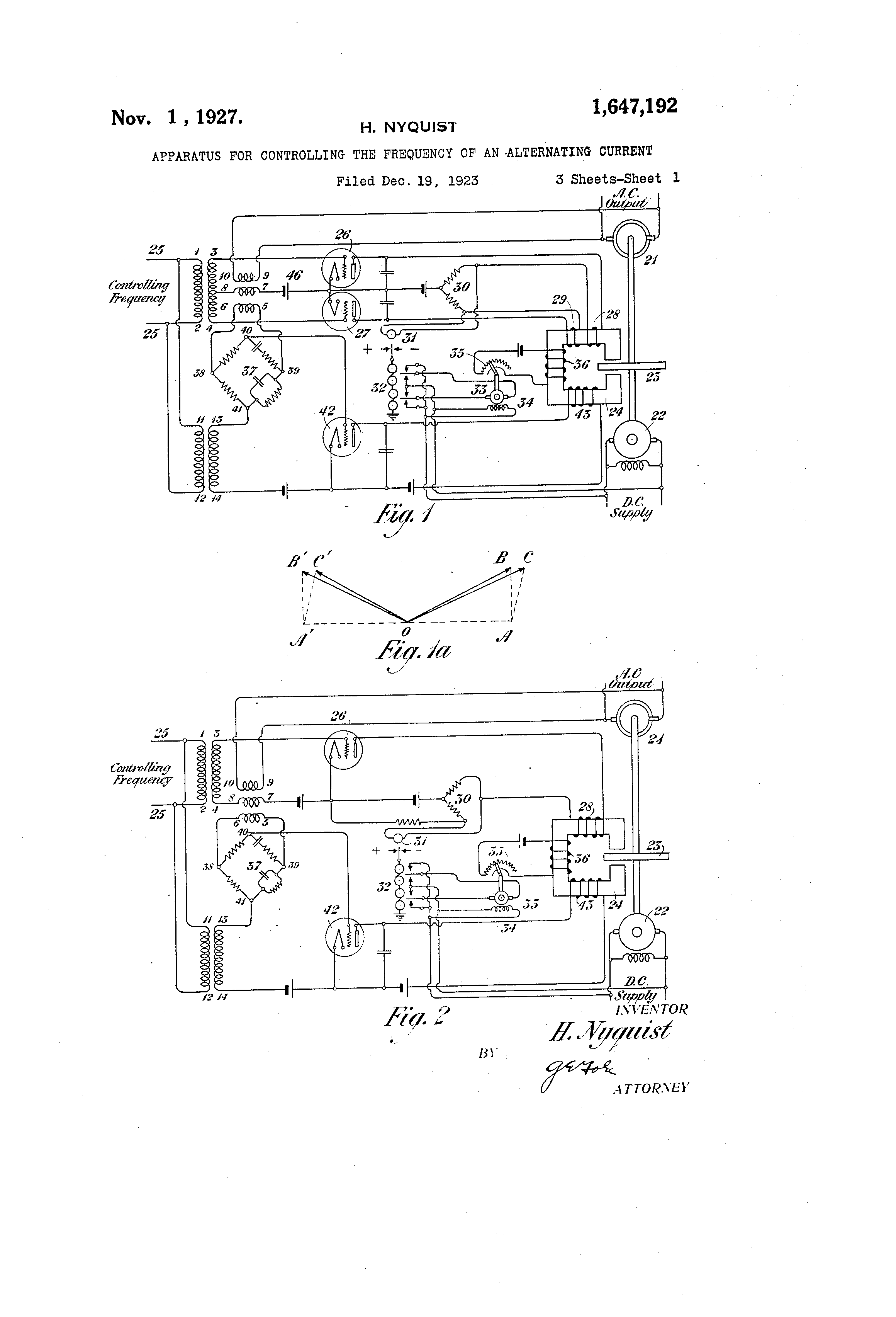 Patent Us1647192 Apparatus For Controlling The Frequency Of An Alternating Current Diagram Drawing