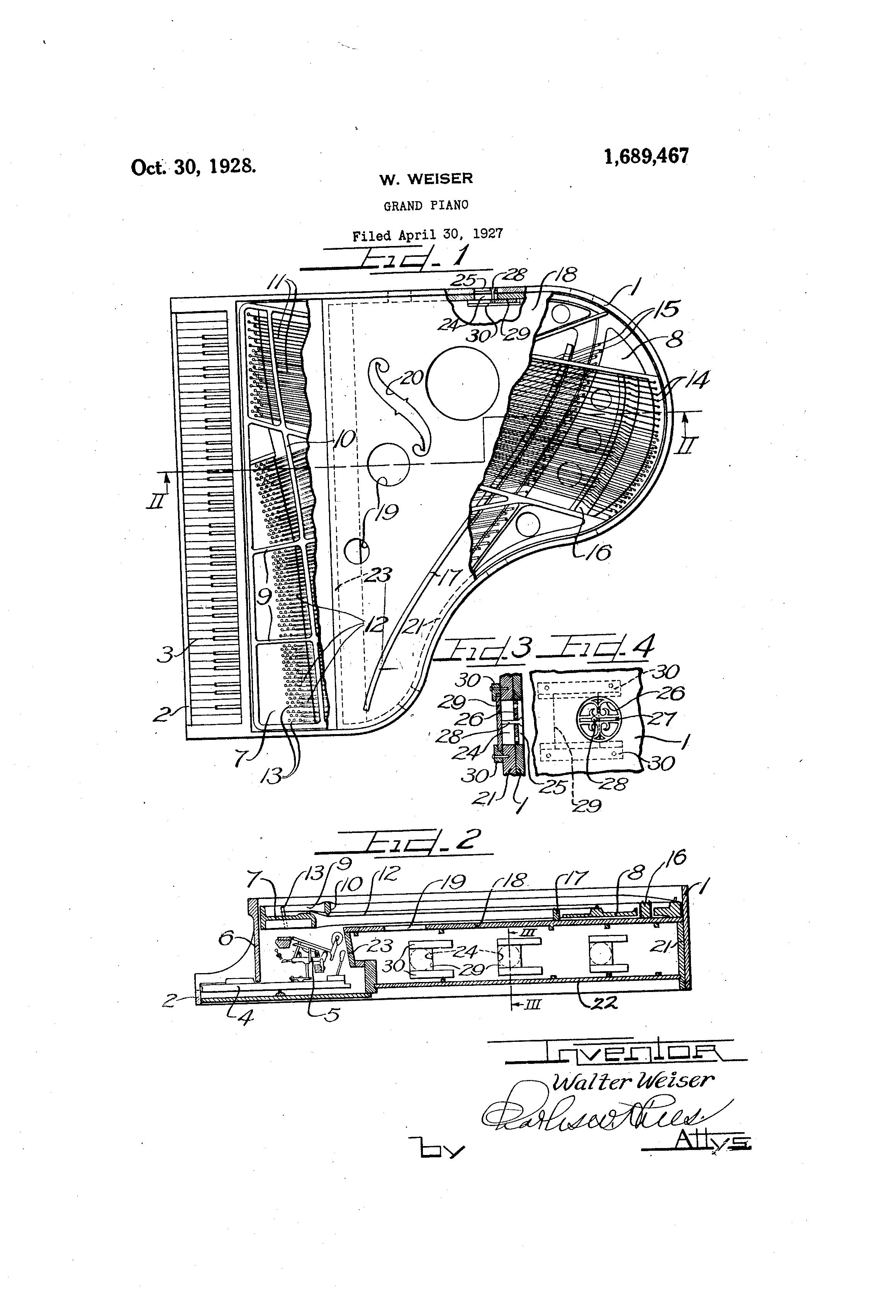 patent us1689467 - grand piano
