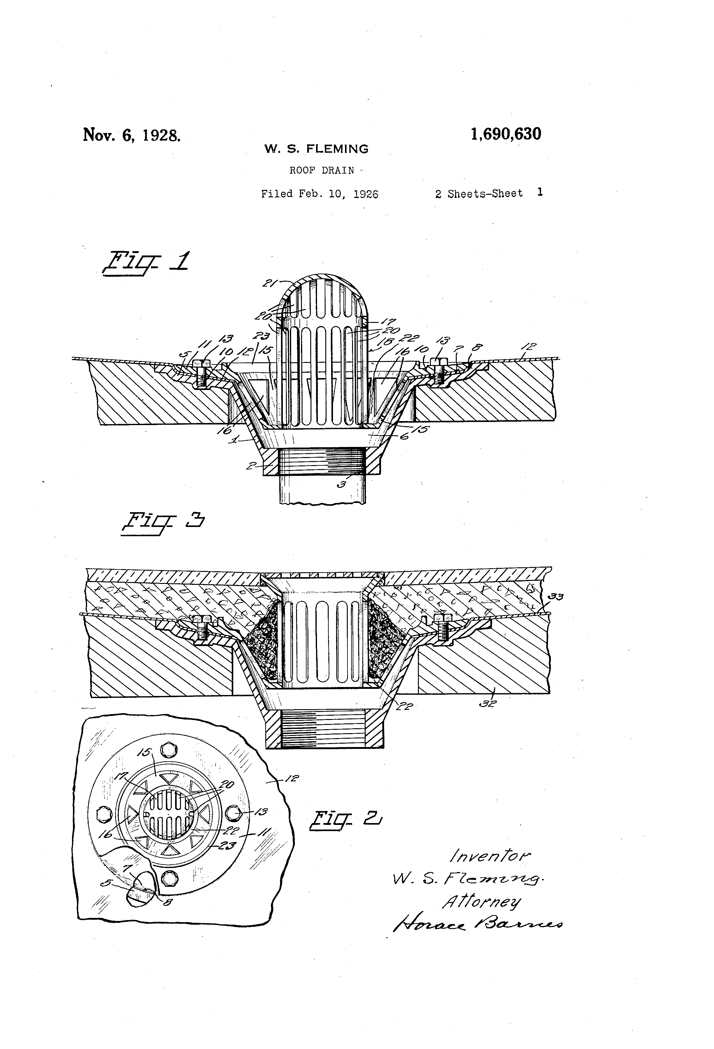 Patent Us1690630 Roof Drain Google Patents