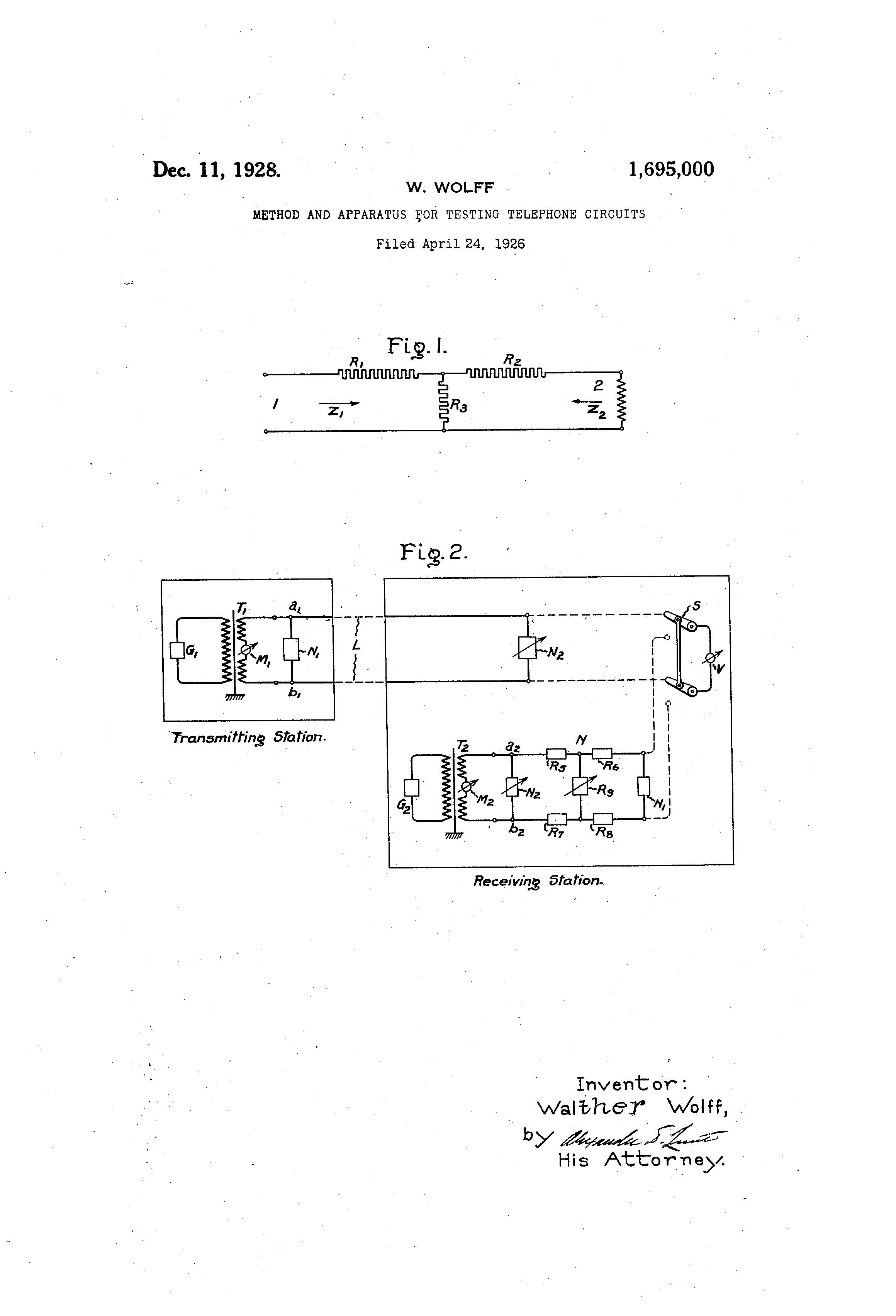 Patent Us1695000 Method And Apparatus For Testing Telephone Circuits Drawing