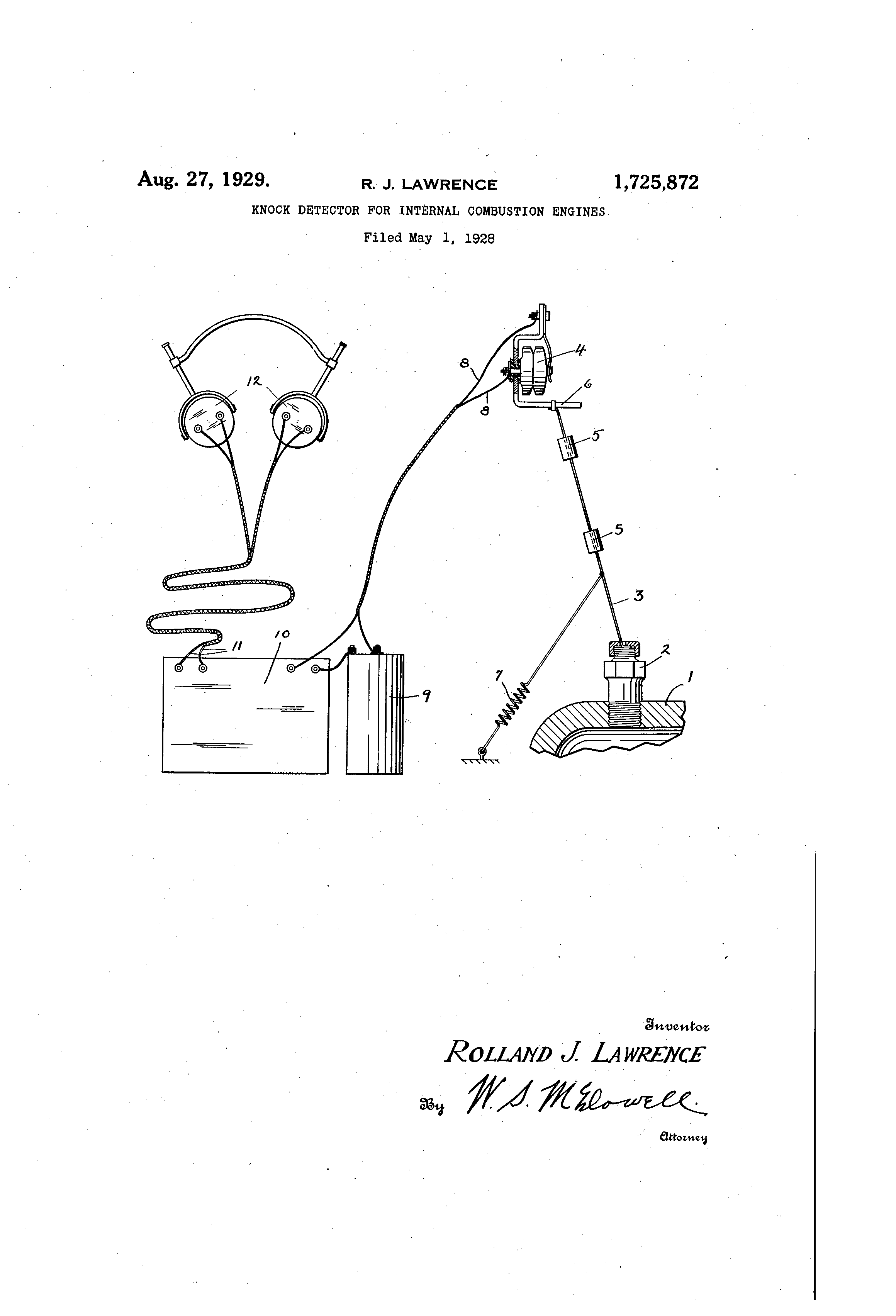 Brevet Us1725872 Knock Detector For Internal Combustion Engines Illustrated Diagram Of A Basic Engine Patent Drawing
