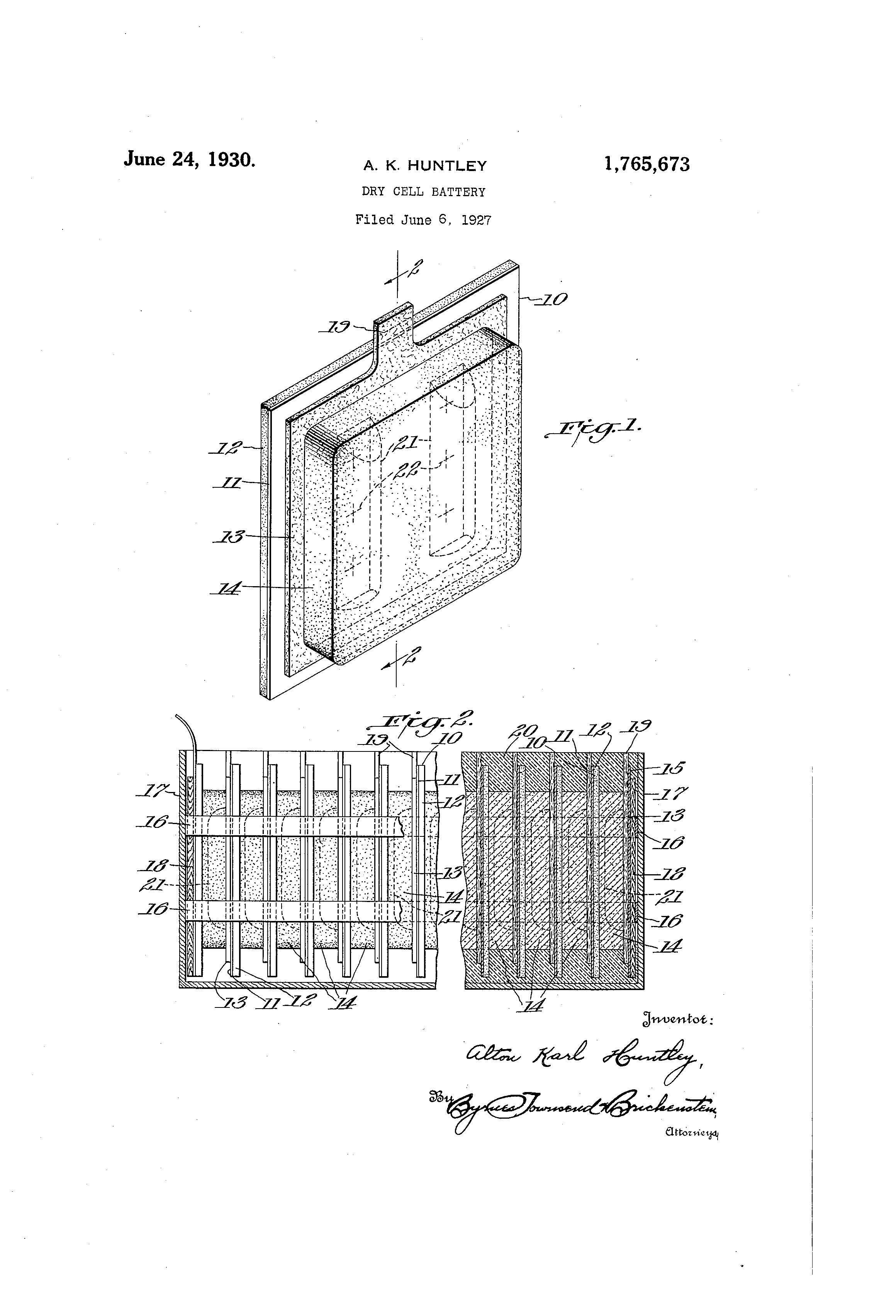 Patent Us1765673 Dry Cell Battery Google Patents Diagram Of A Drawing