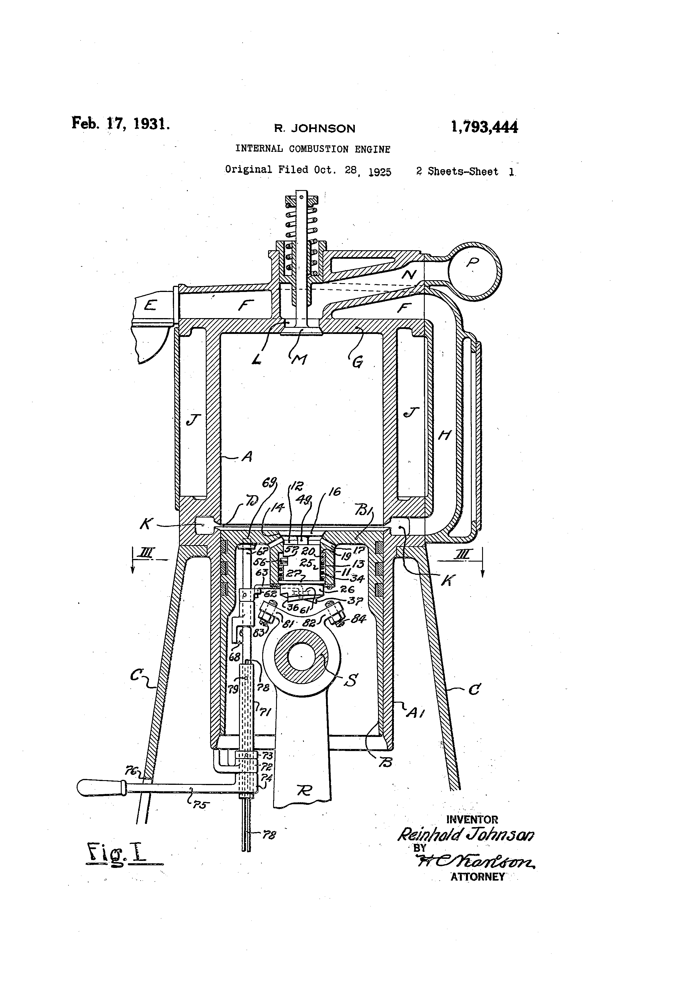 patent us1793444 - internal-combustion engine
