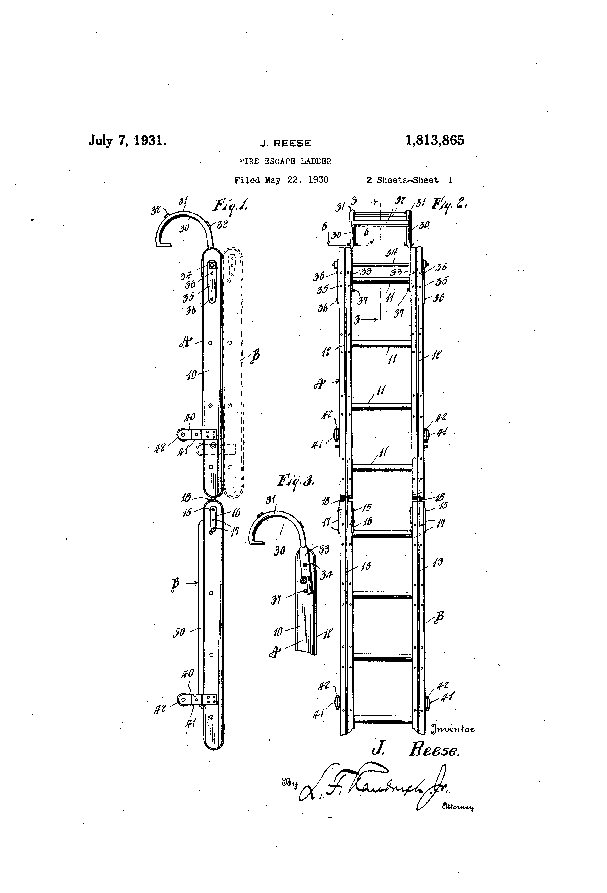 patent us1813865 - fire escape ladder