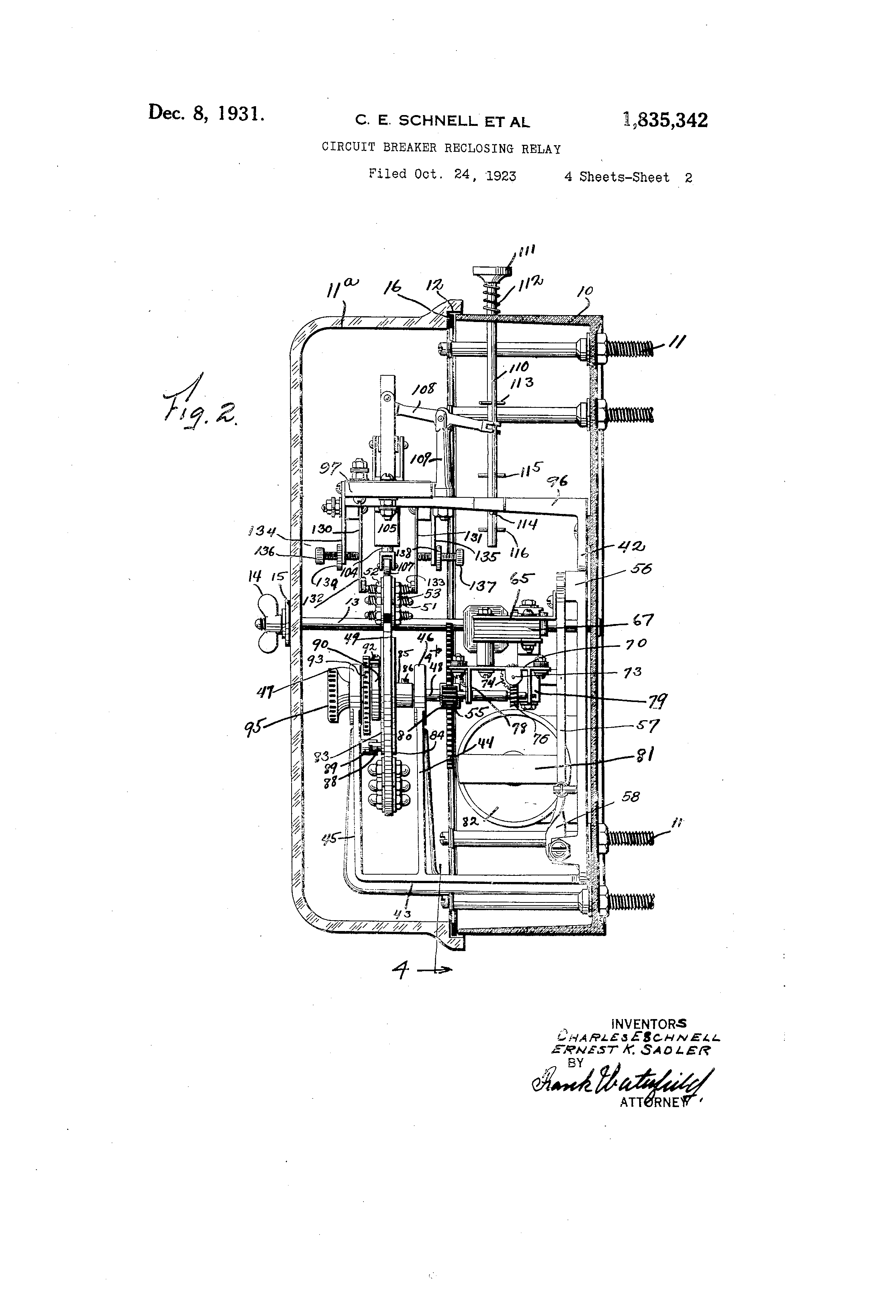 Patent Us1835342 Circuit Breaker Reclosing Relay Google Patents With Drawing