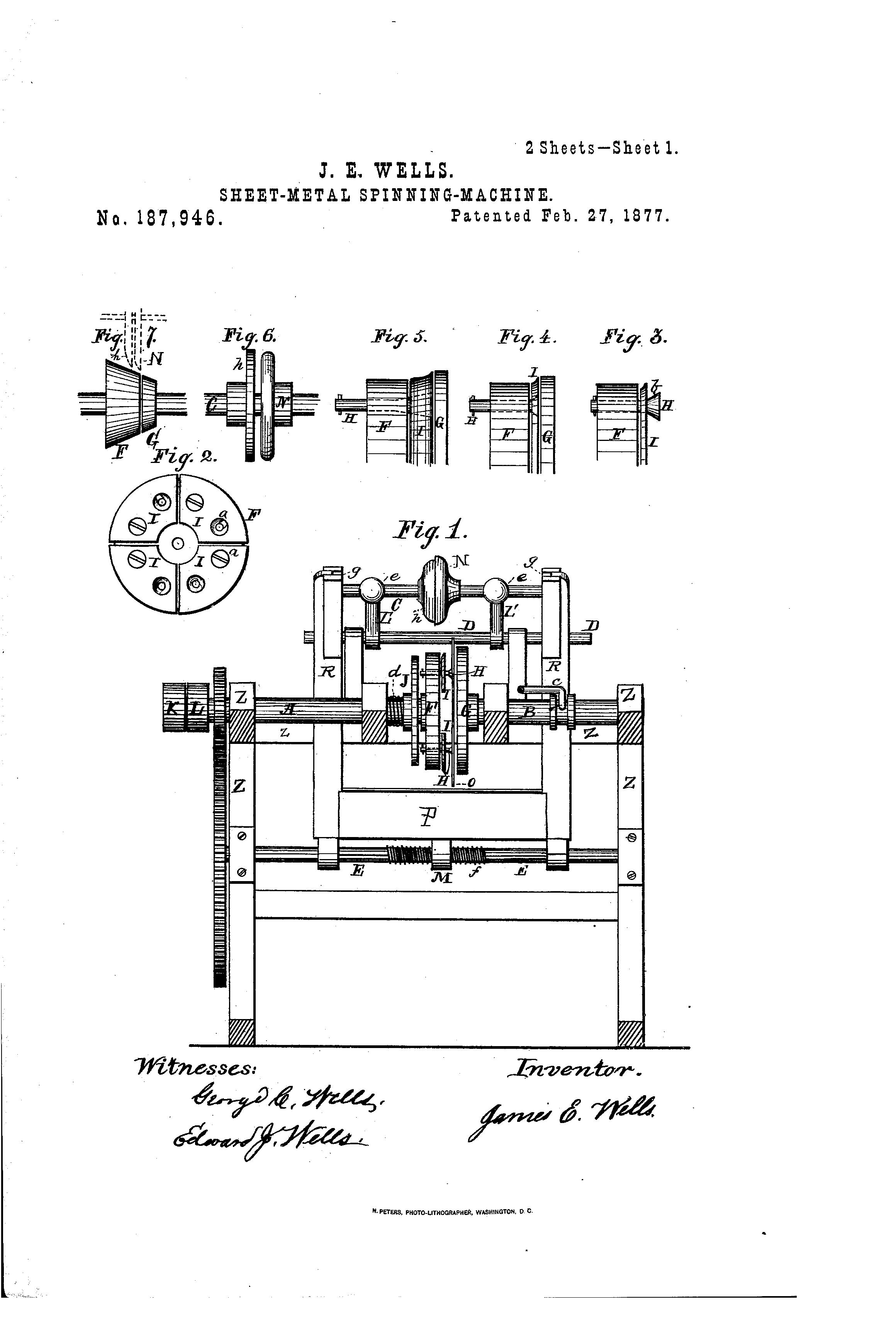 Brevet Us187946 Improvement In Sheet Metal Spinning Machines
