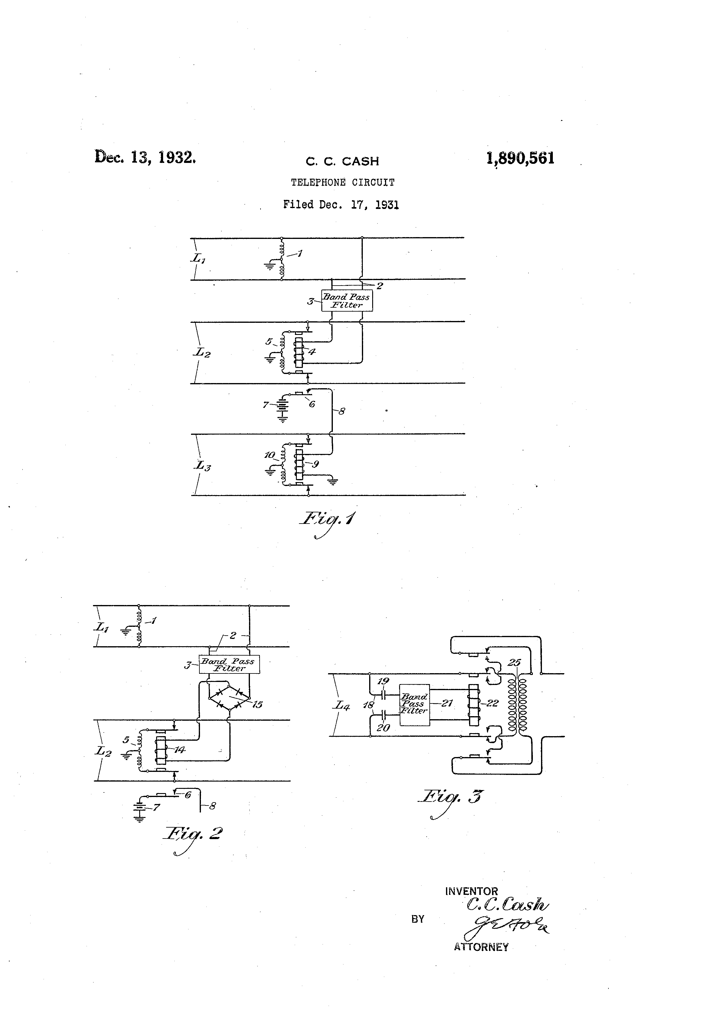 Patent Us1890561 Telephone Circuit Google Patents Circuits Drawing