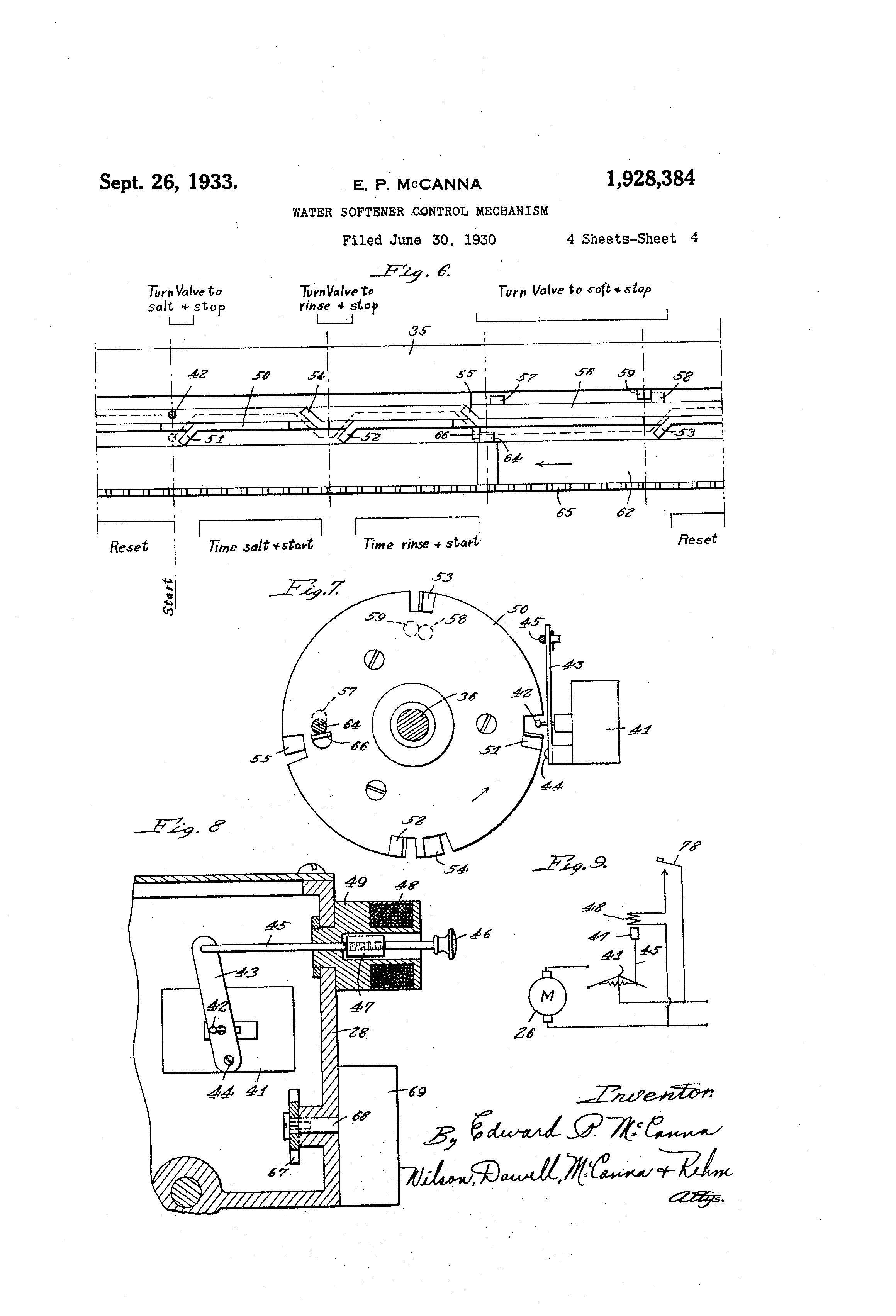 Patente Us1928384 Water Softener Control Mechanism Google Patentes Wiring Schematic Patent Drawing