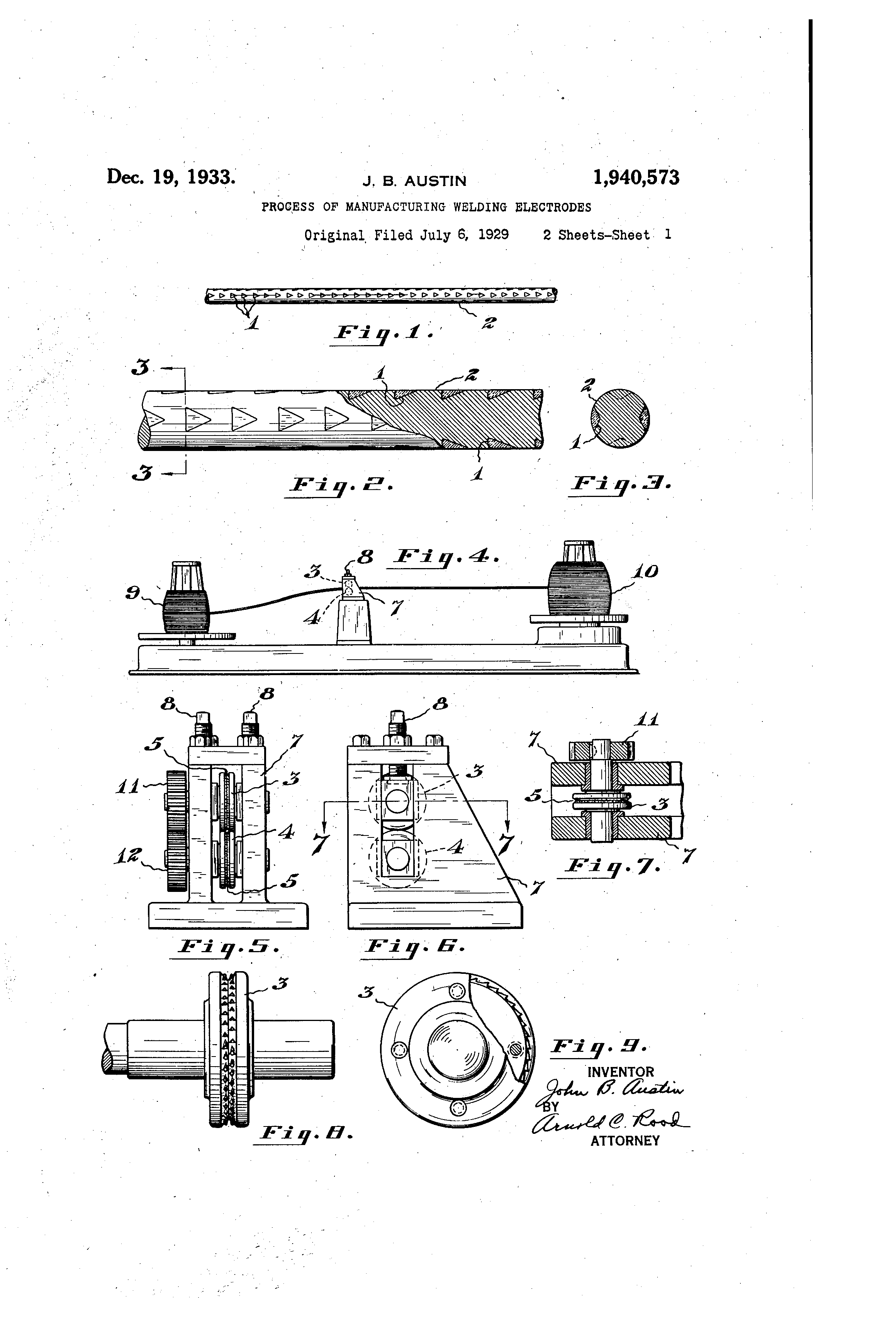 Brevet Us1940573 Process Of Manufacturing Welding Electrodes Electrode Diagram Patent Drawing