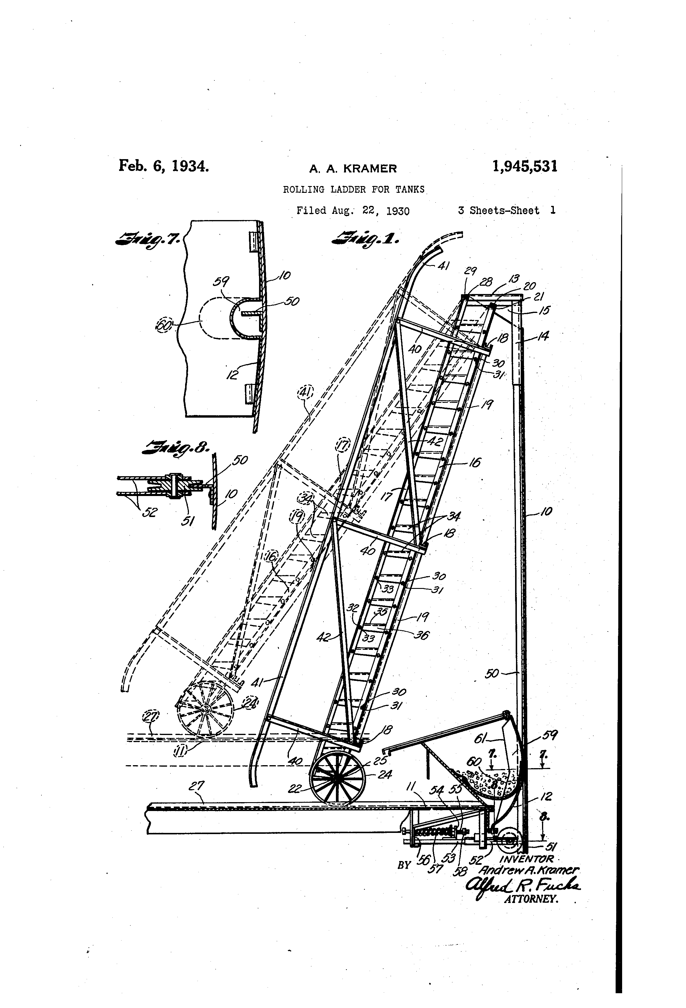 Patent Us1945531 Rolling Ladder For Tanks Google Patents