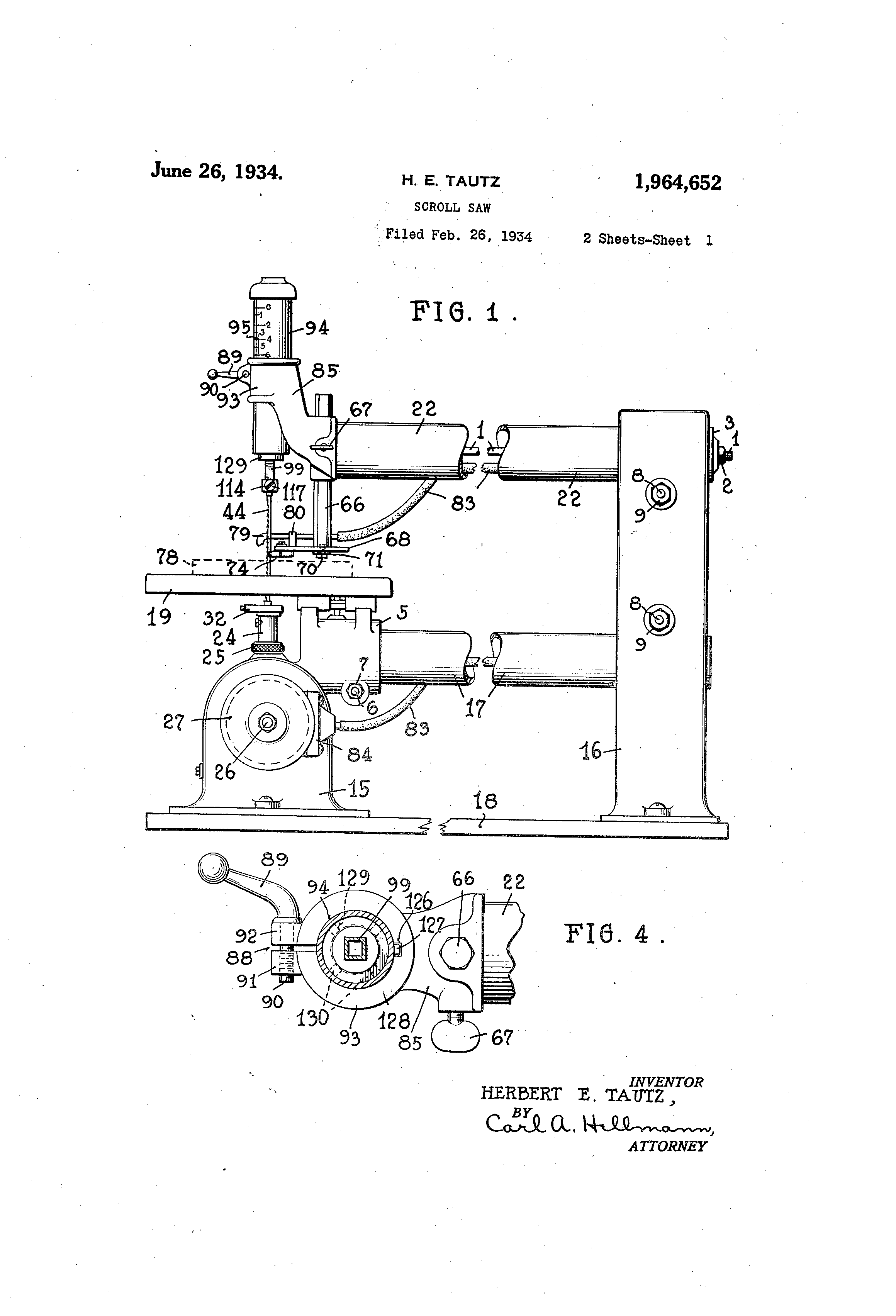 Patente Us1964652 Scroll Saw Google Patentes Diagram Patent Drawing