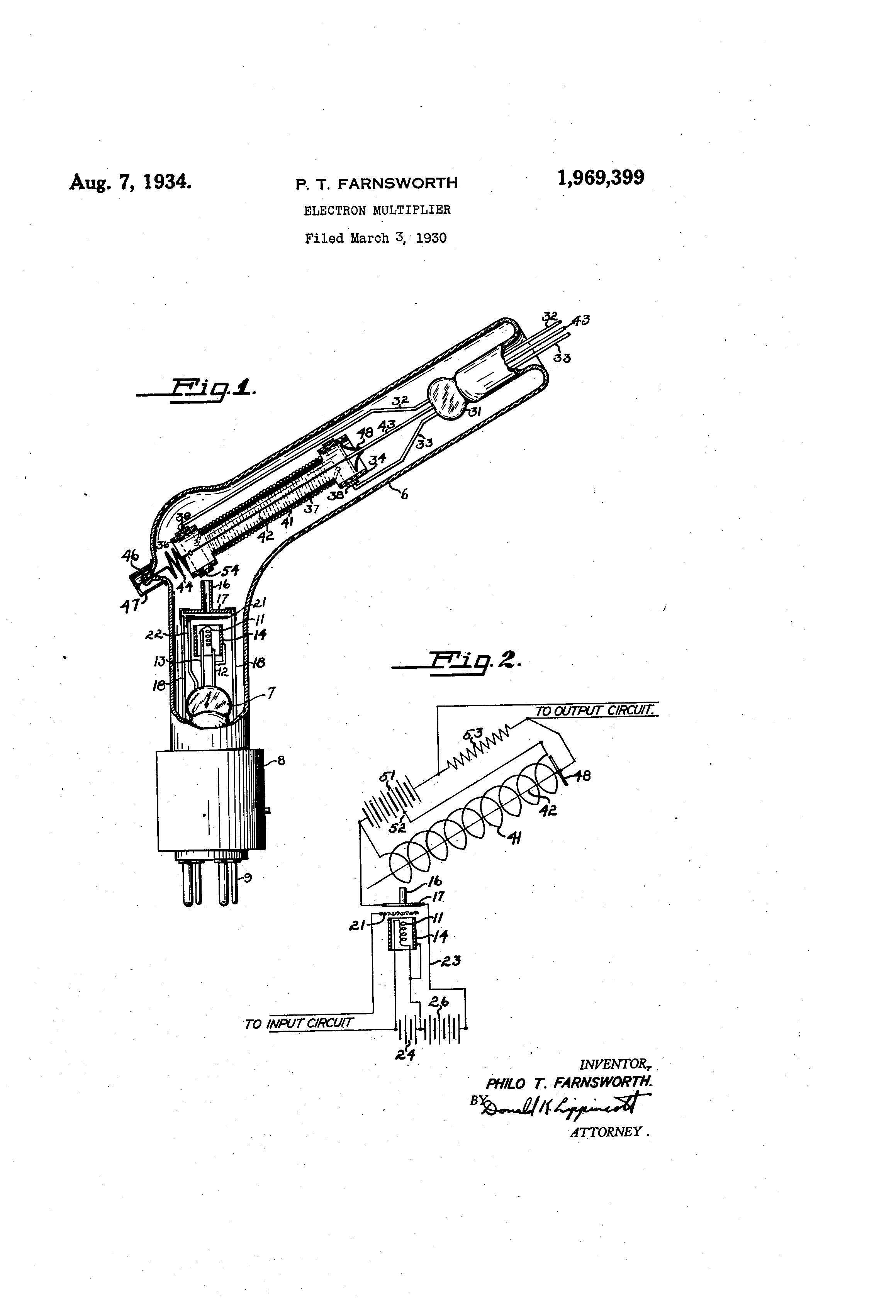 patent us1969399 - electron multiplier