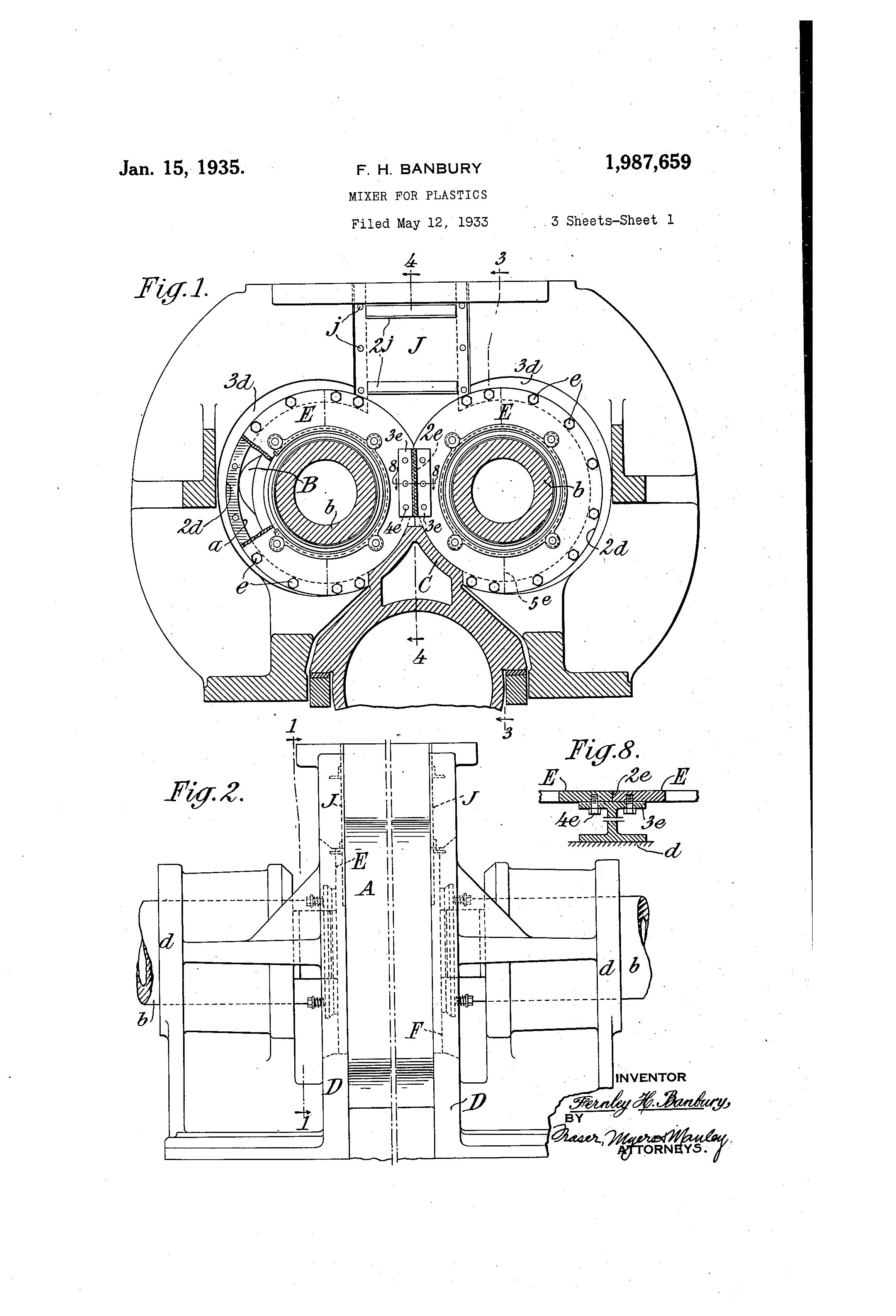 patent us1987659 - mixer for plastics