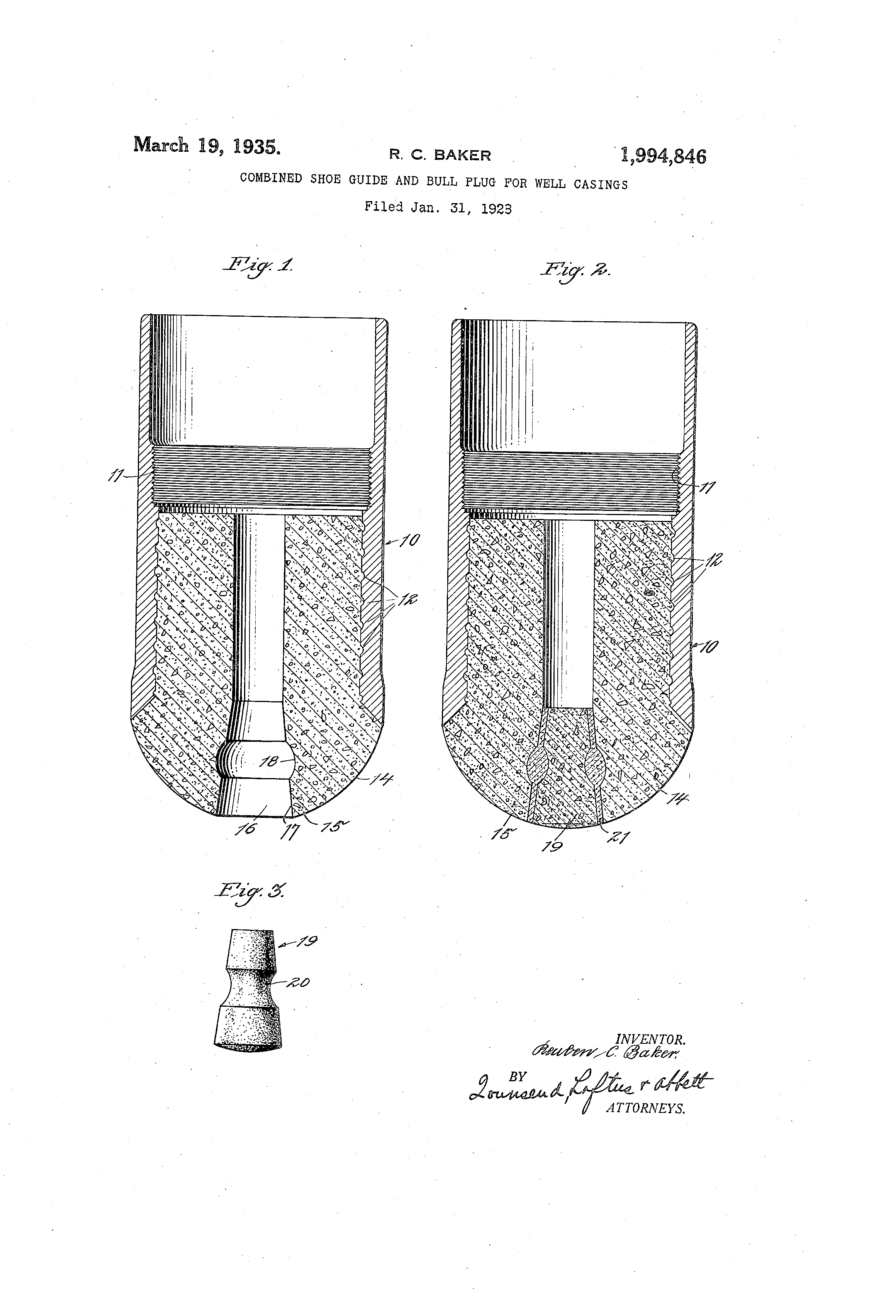 Patent us combined shoe guide and bull plug for