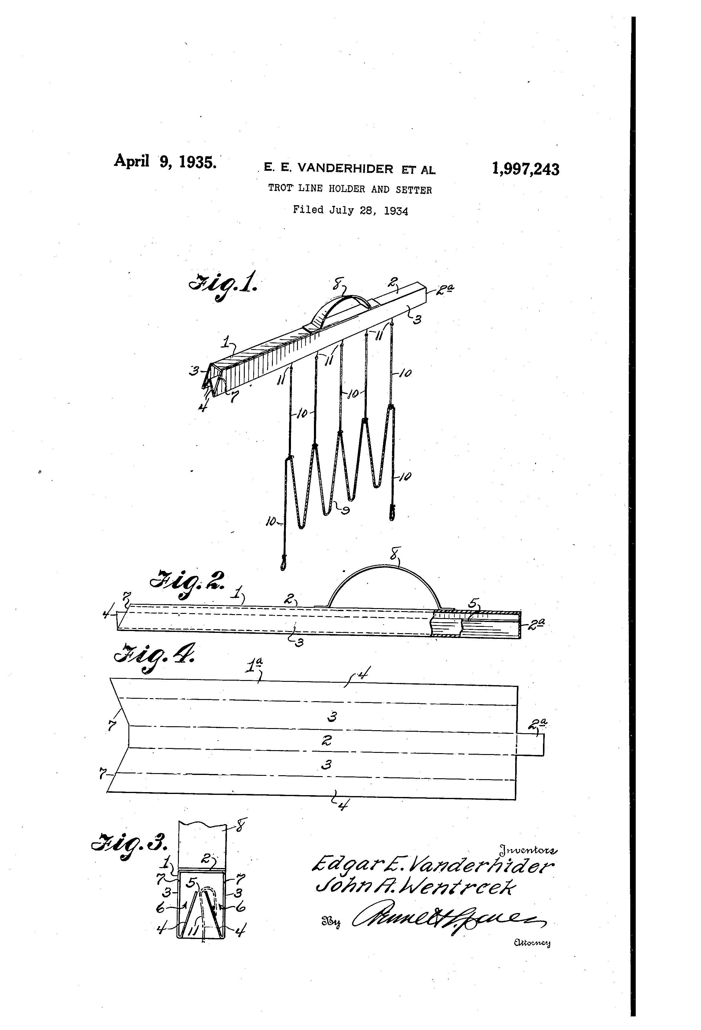 Patent Us1997243 Trot Line Holder And Setter Google Patents