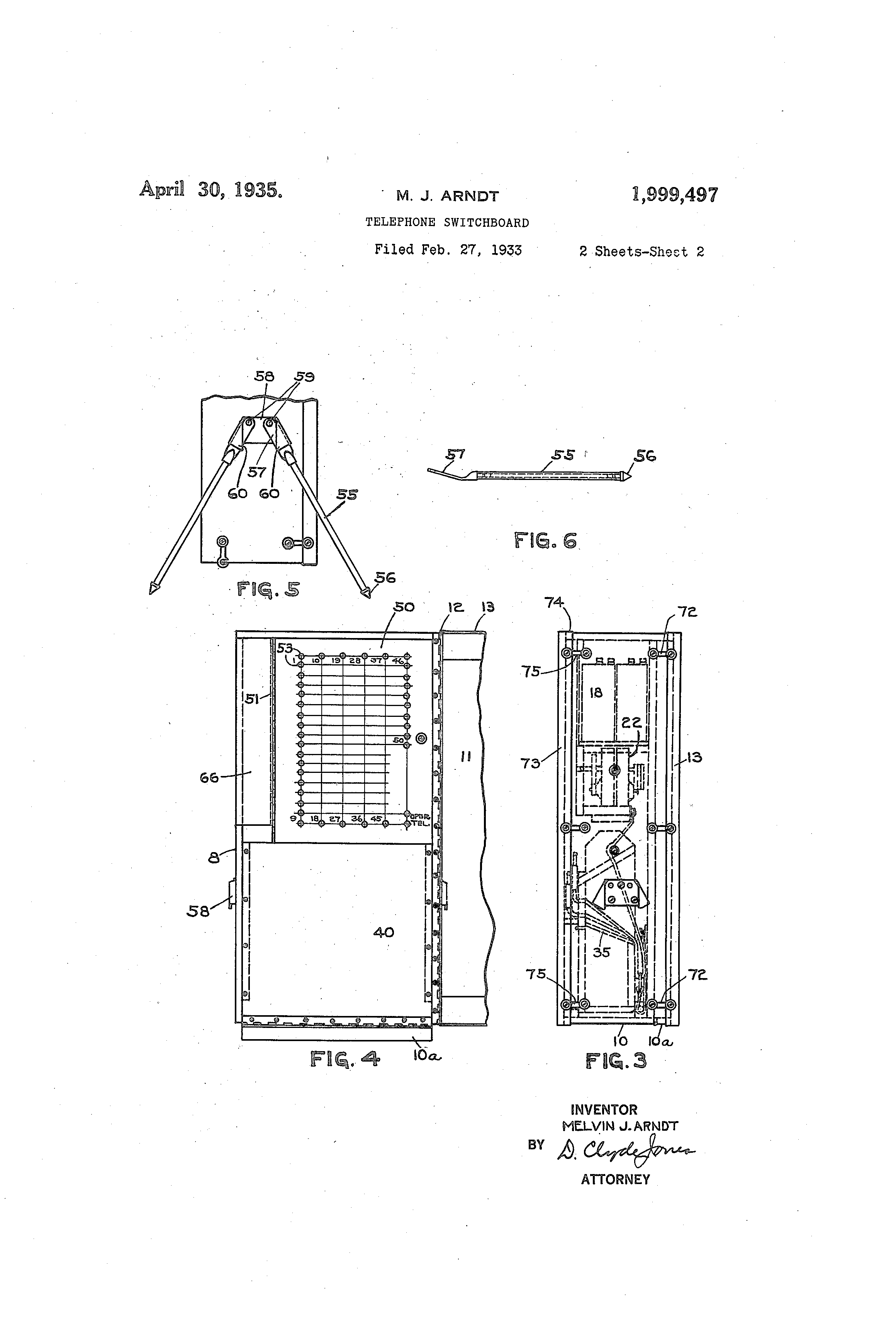 patent us1999497 - telephone switchboard