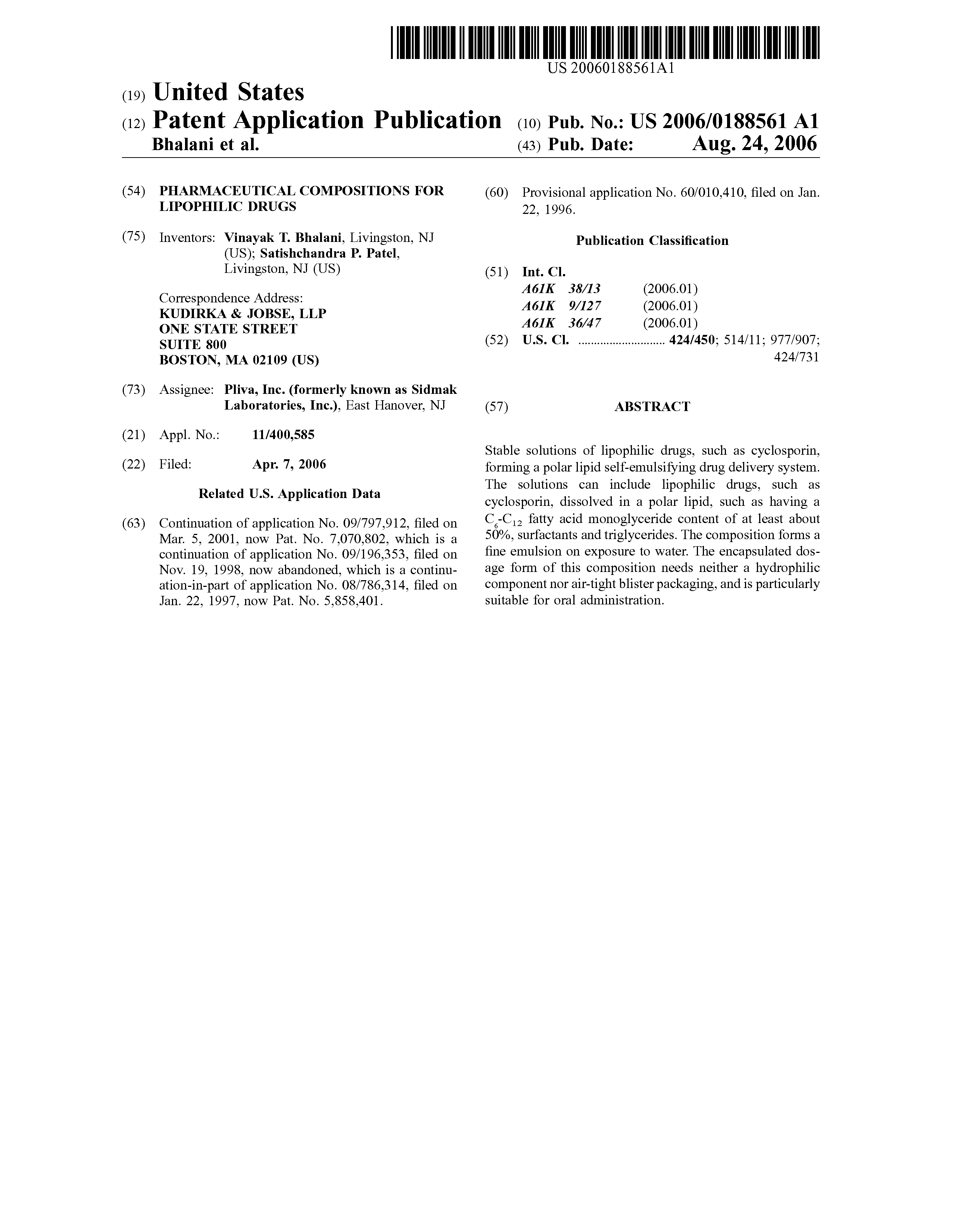 Brevetto US20060188561 - Pharmaceutical compositions for